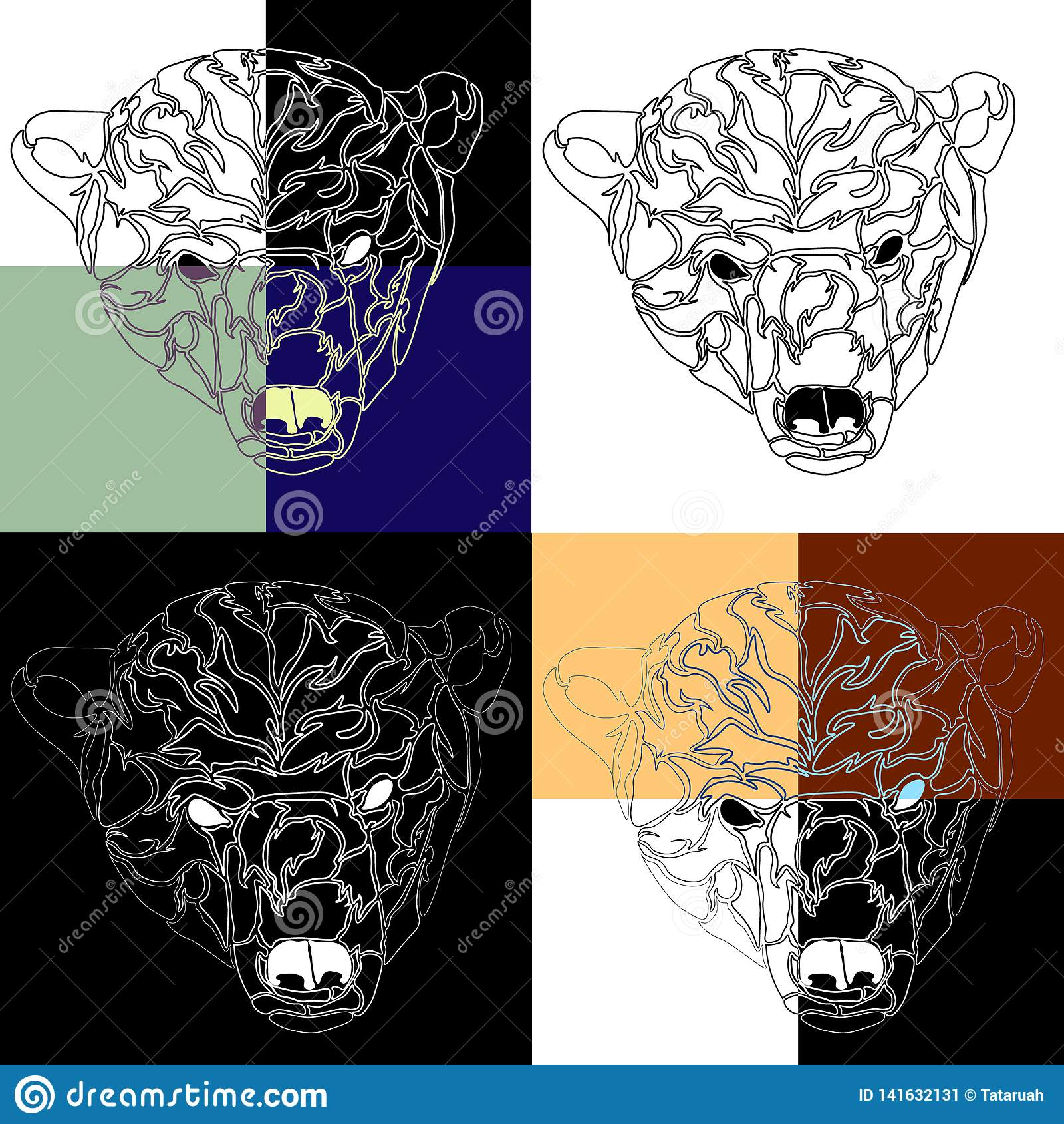 Głowa niedźwiedzia polarnego tatuażu tło