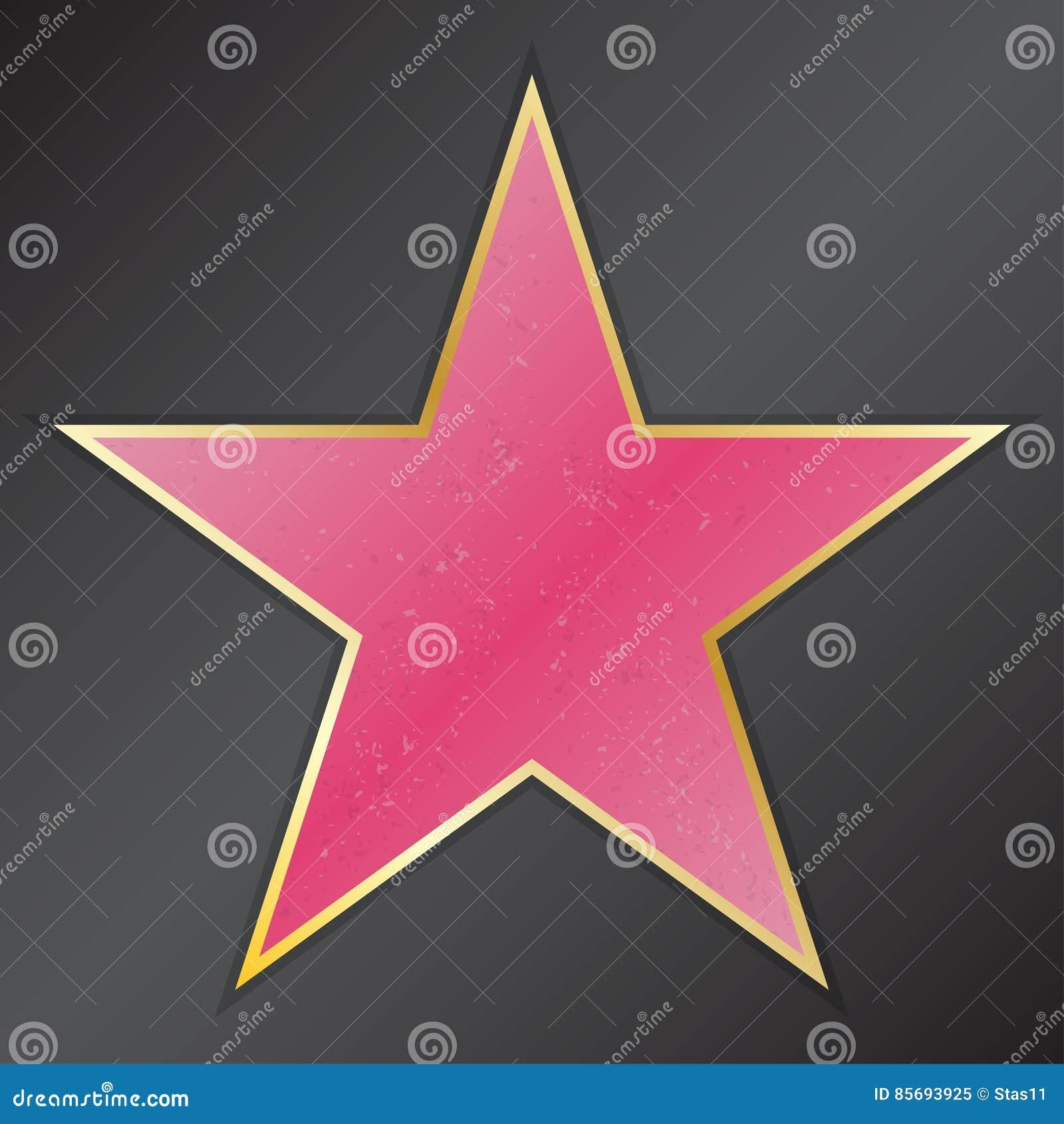 Gå av berömmelsestjärnan med emblem symboliserar fem kategorier Hollywood berömd trottoar, boulevardskådespelare också vektor för