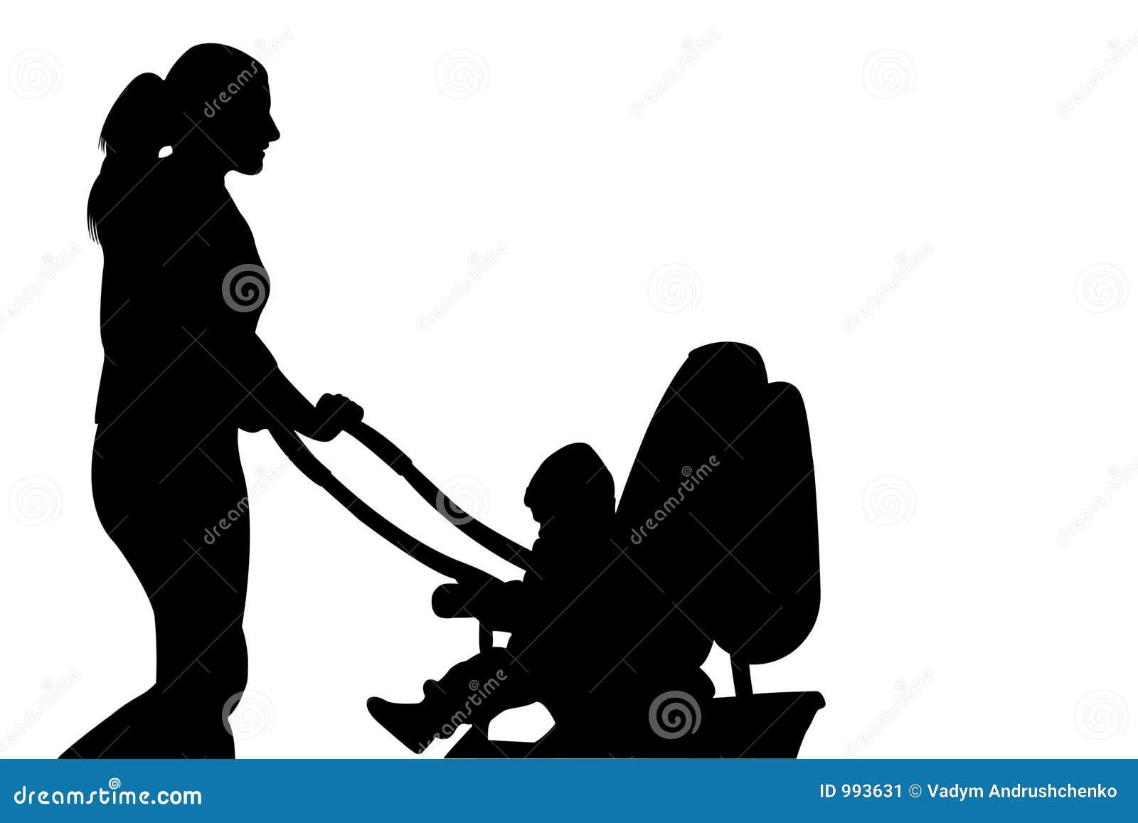 Gå kvinna för barnvagnsilhouette