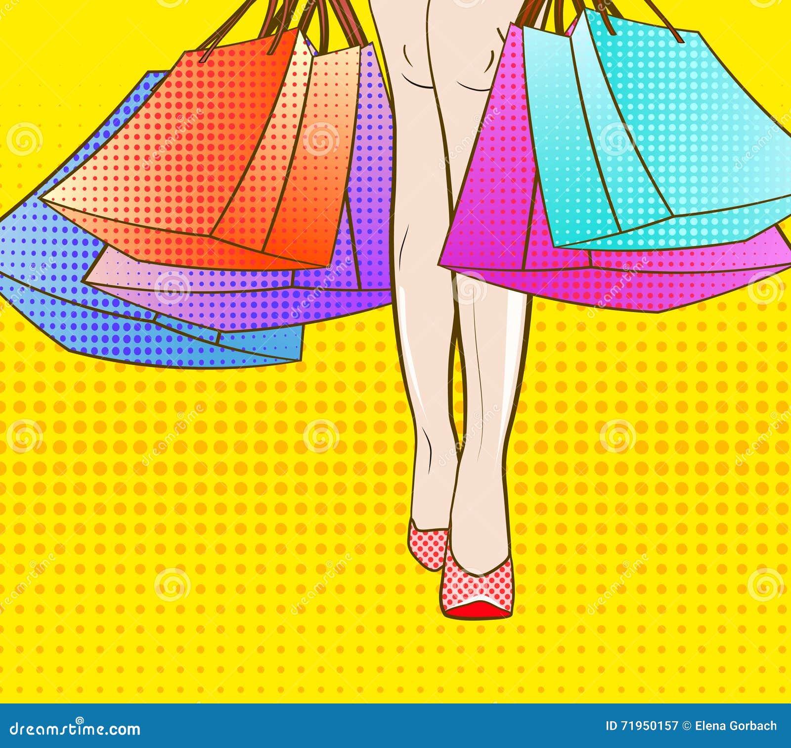 Gå låt s-shopping för illustrationsköld för 10 eps vektor stil för popkonst svarta fredag säsongsbetonad försäljning för höst för