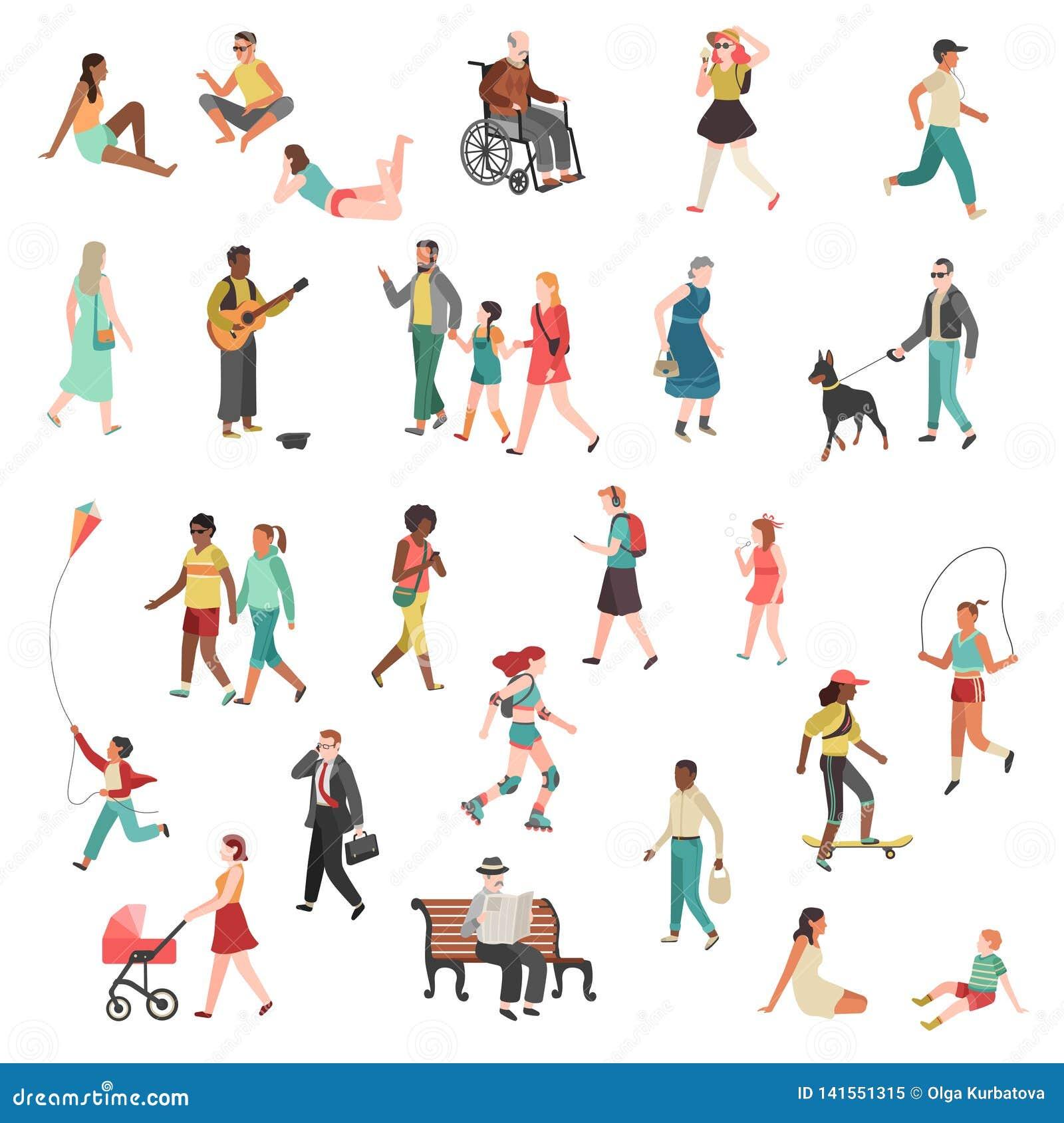 Gå plant folk Tecknad film för cyklar för hundkapplöpning för barn för gata för stad för flicka för man för kvinna för teckenpers