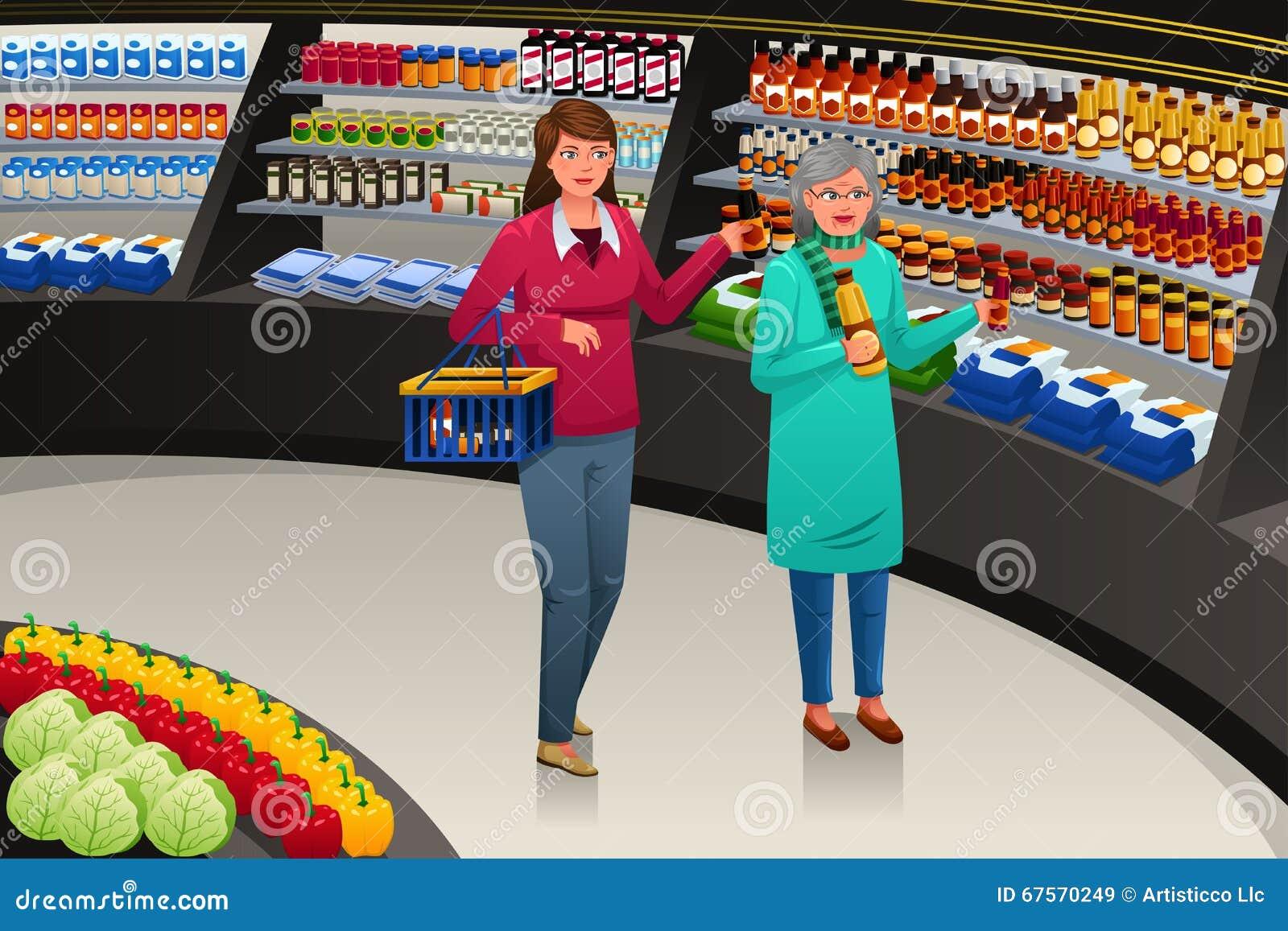 Gående livsmedelsbutikshopping för flicka och för farmor