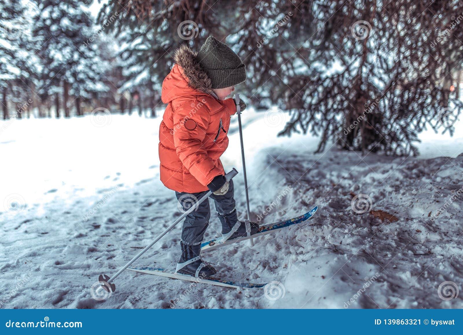 Går 3-5 åriga ritter för en pojke och bara på leksakleksaken skidar Vinterskogdrivor och trädriva på bakgrund Första
