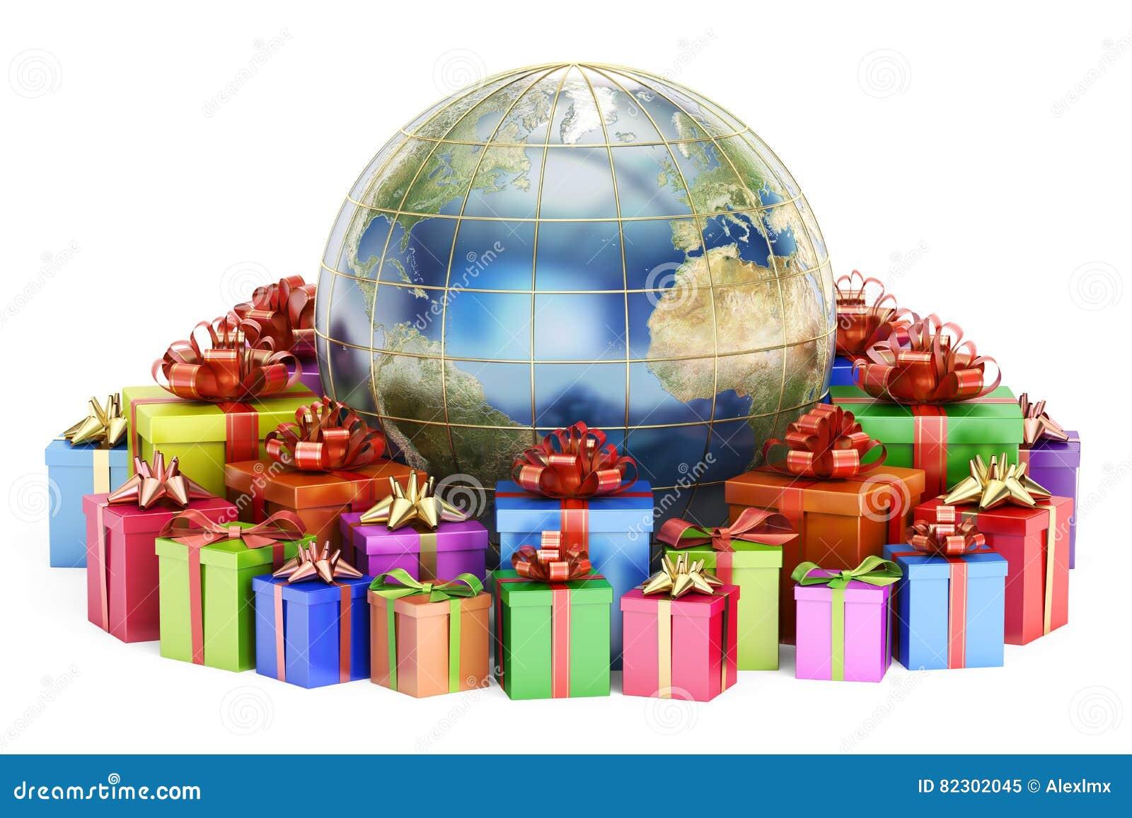 Gåvaleverans och globalt shoppingbegrepp, jord med gåvaaskar