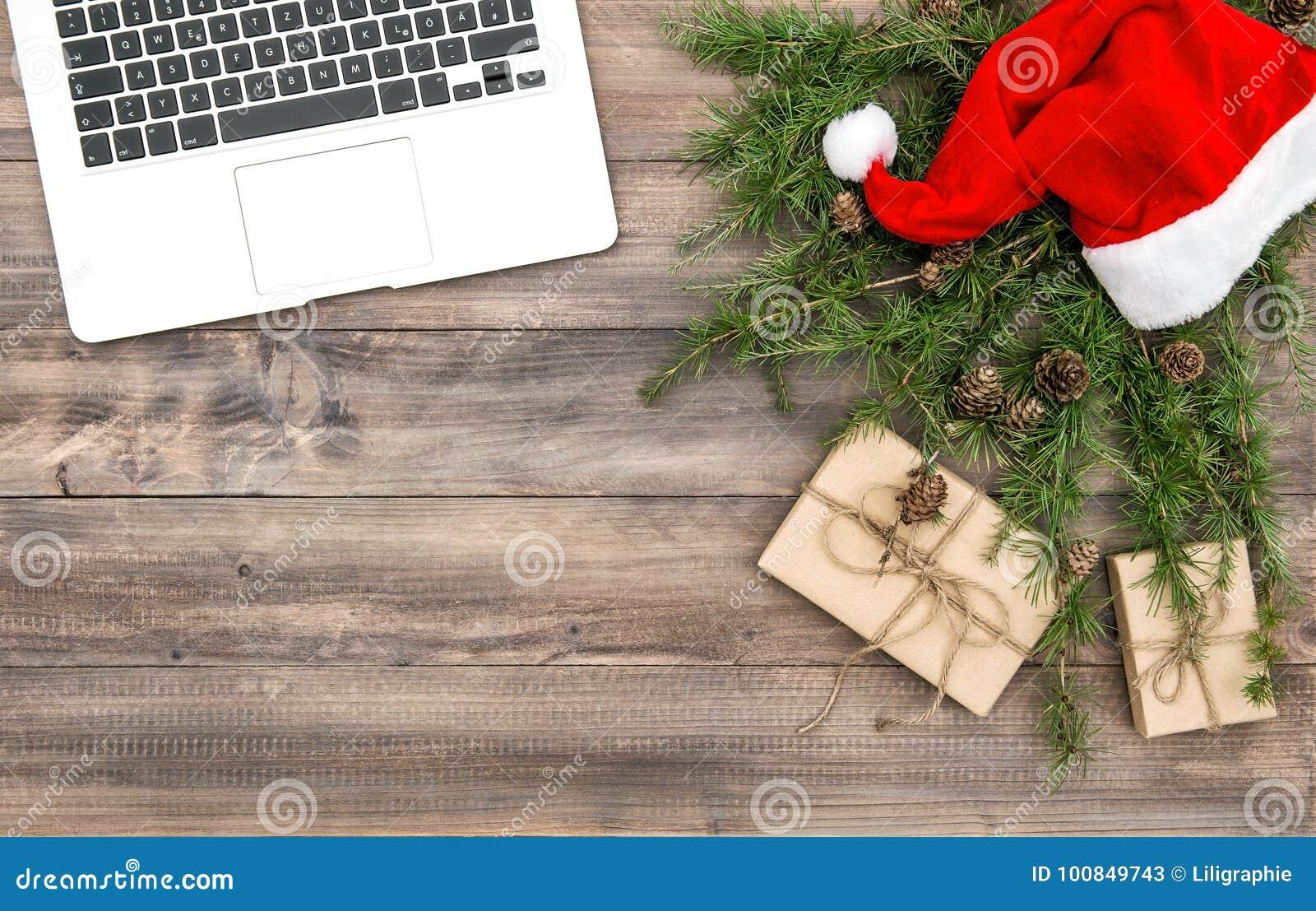 Gåvor för hatt för garnering för jul för bärbar dator för kontorsskrivbord röda