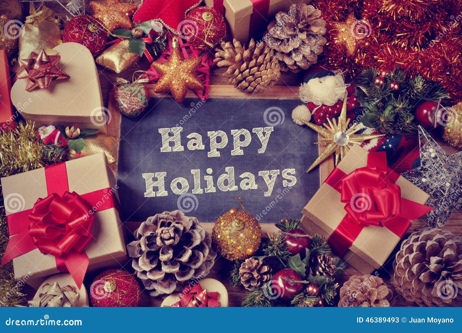 Gåvor och julprydnader och de lyckliga ferierna för text