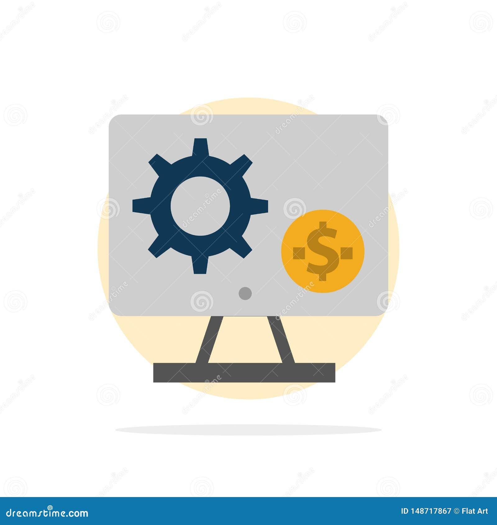 Générateur, moniteur, écran, arrangement, vitesse, icône plate de couleur de fond abstrait de cercle d argent