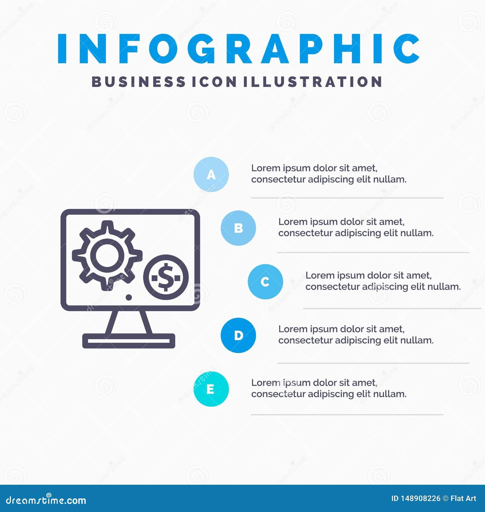 Générateur, moniteur, écran, arrangement, vitesse, ligne icône d argent avec le fond d infographics de présentation de 5 étapes