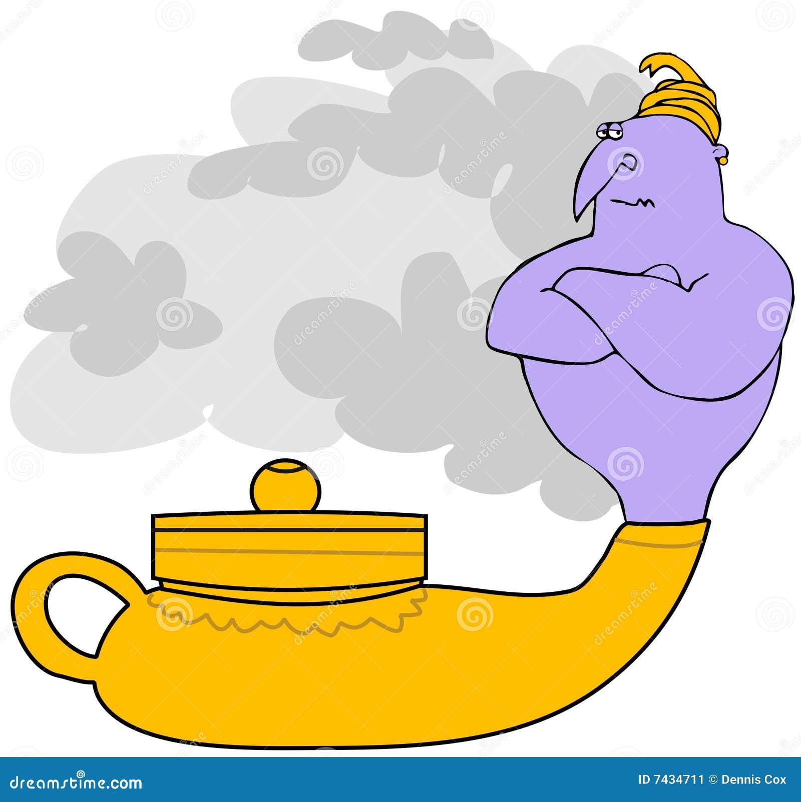 Genie Dans Une Lampe Magique Illustration Stock Illustration Du