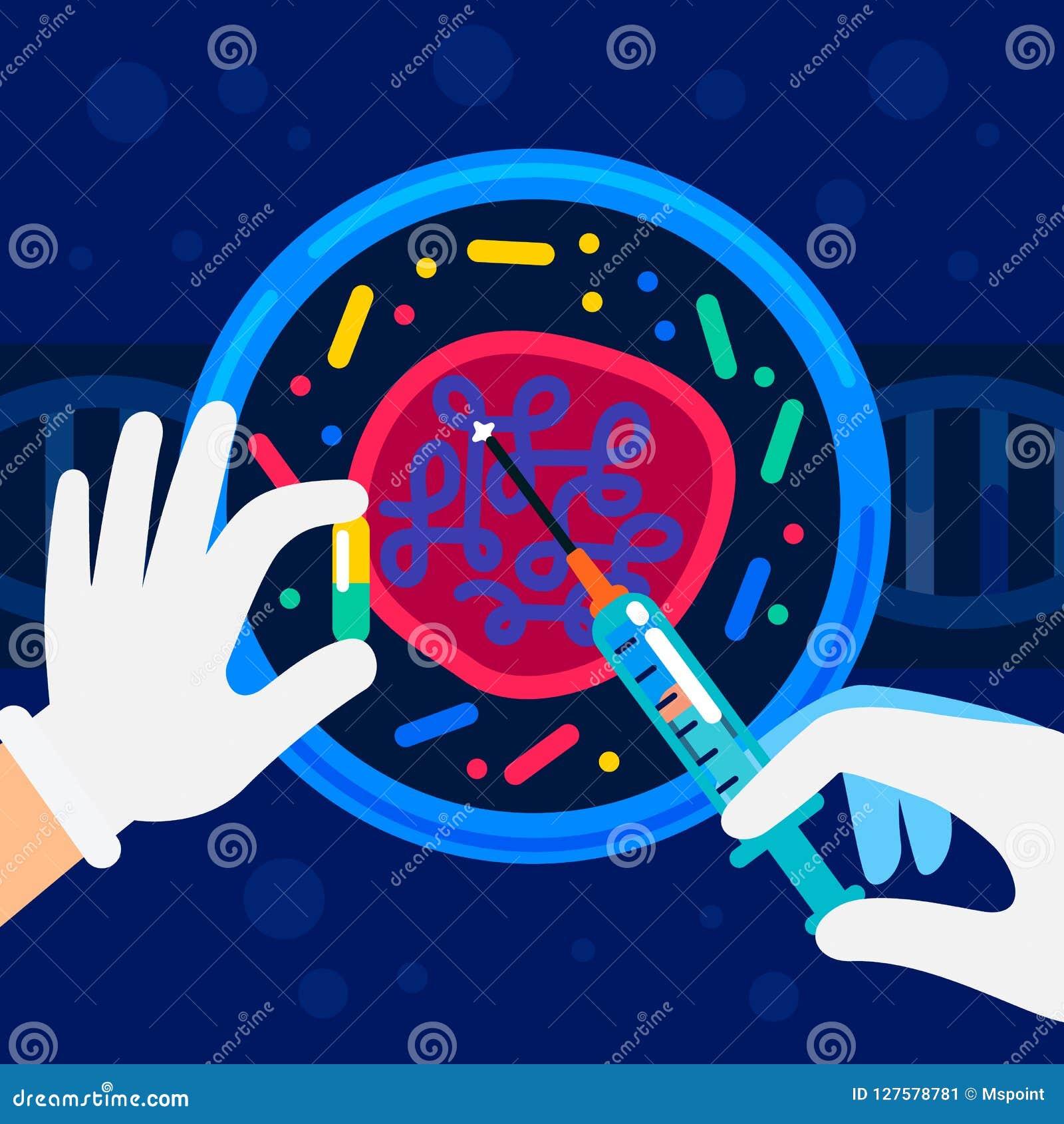 Génome ordonnançant le concept Laboratoire de nanotechnologie et de biochimie Les mains d un scientifique travaillant avec une hé