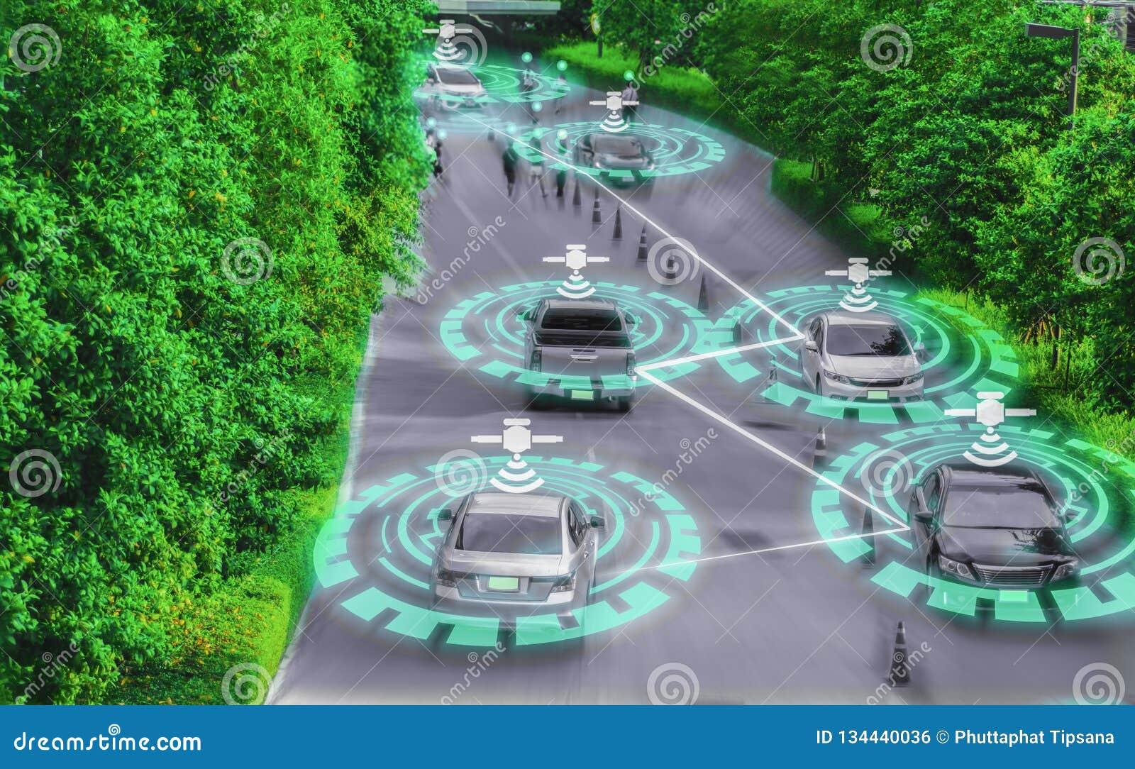 Gênio esperto futurista do carro para o sistema de inteligência conduzindo, artificial inteligente AI do auto, conceitos de condu