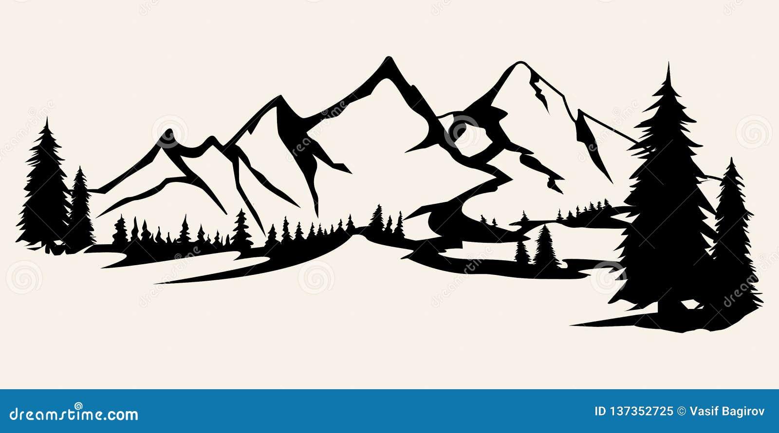 Gór sylwetki Góry wektor, gór plenerowi projektów elementy wektor, Halna sceneria, drzewa, sosnowy wektor,