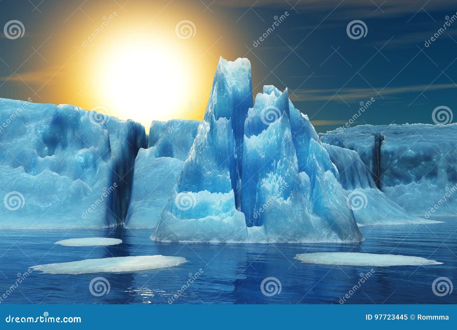 Góra lodowa i słońce