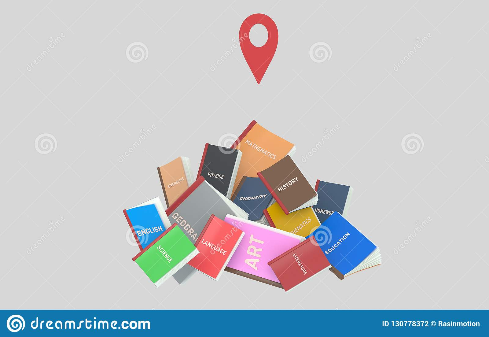 Góra studenckie książki GPS ilustracja 3 d