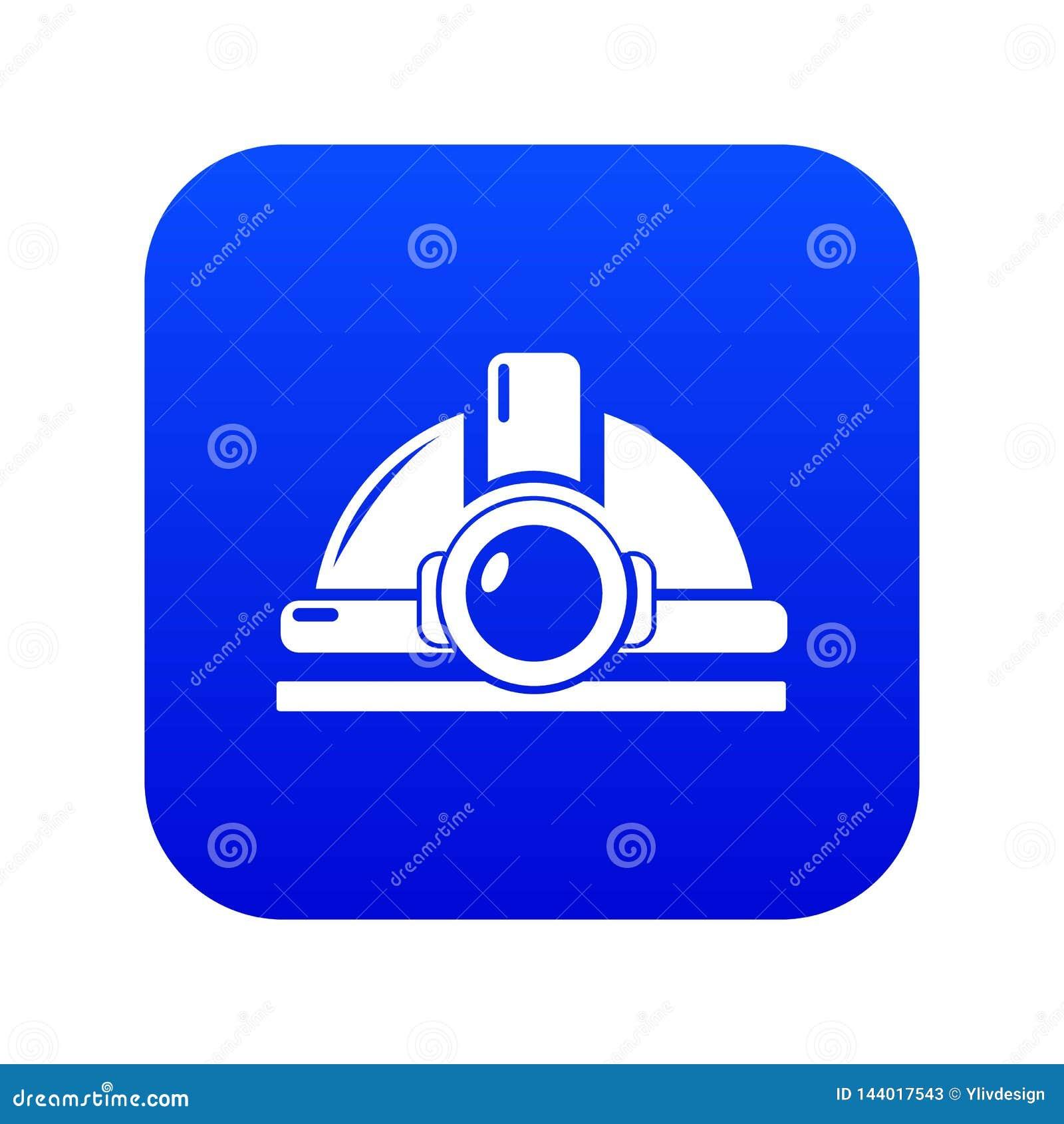 Górniczy hełm ikony błękita wektor
