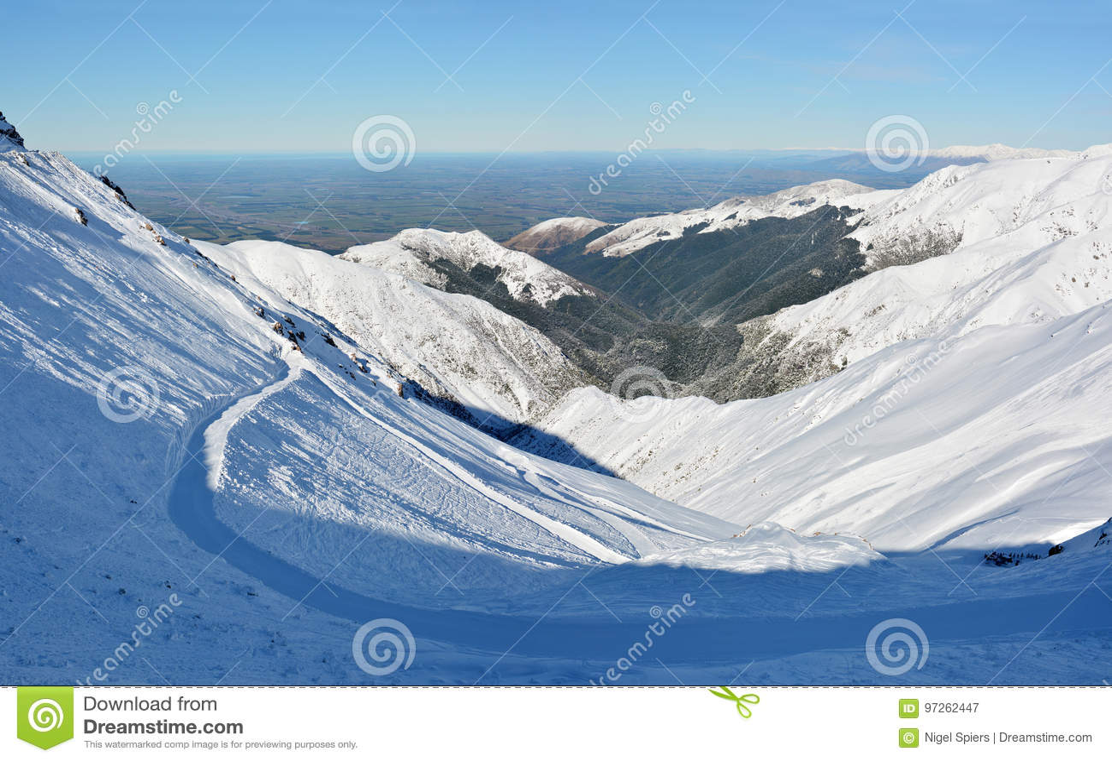 Góry Hutt narty Canterbury & pola równiien Super panorama, NZ