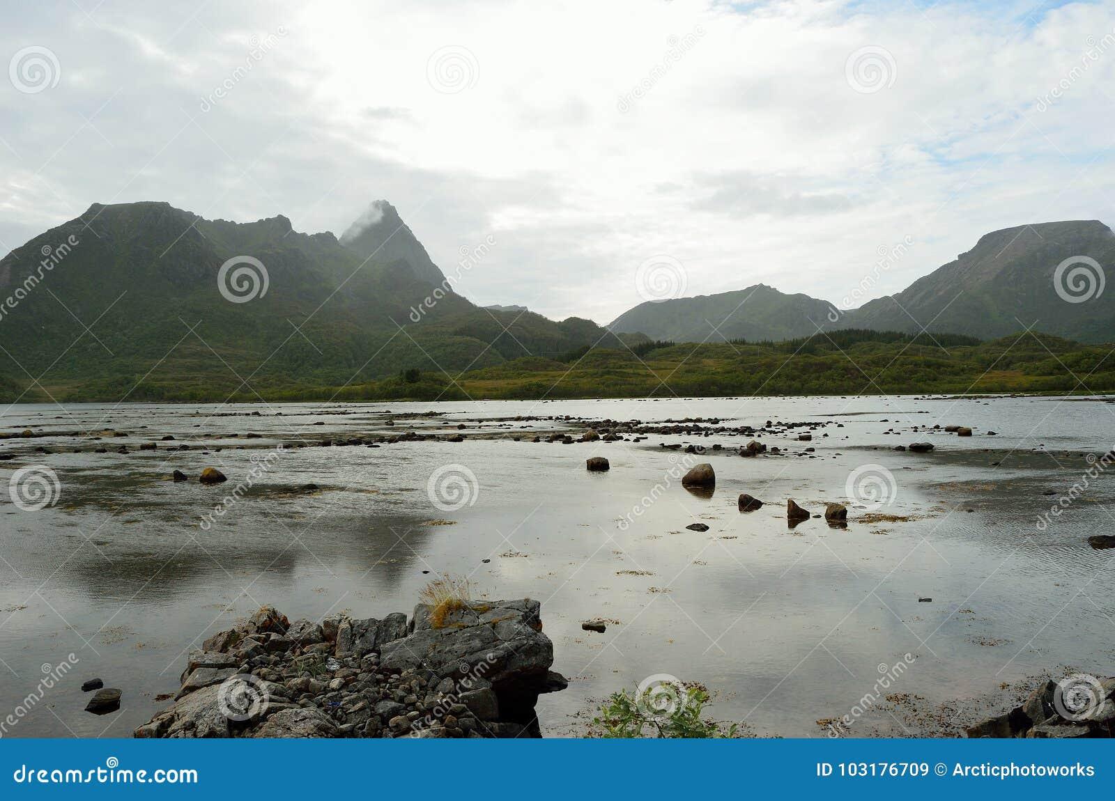 Góry i wody morskiej głąb lądu wewnątrz vesteraalen