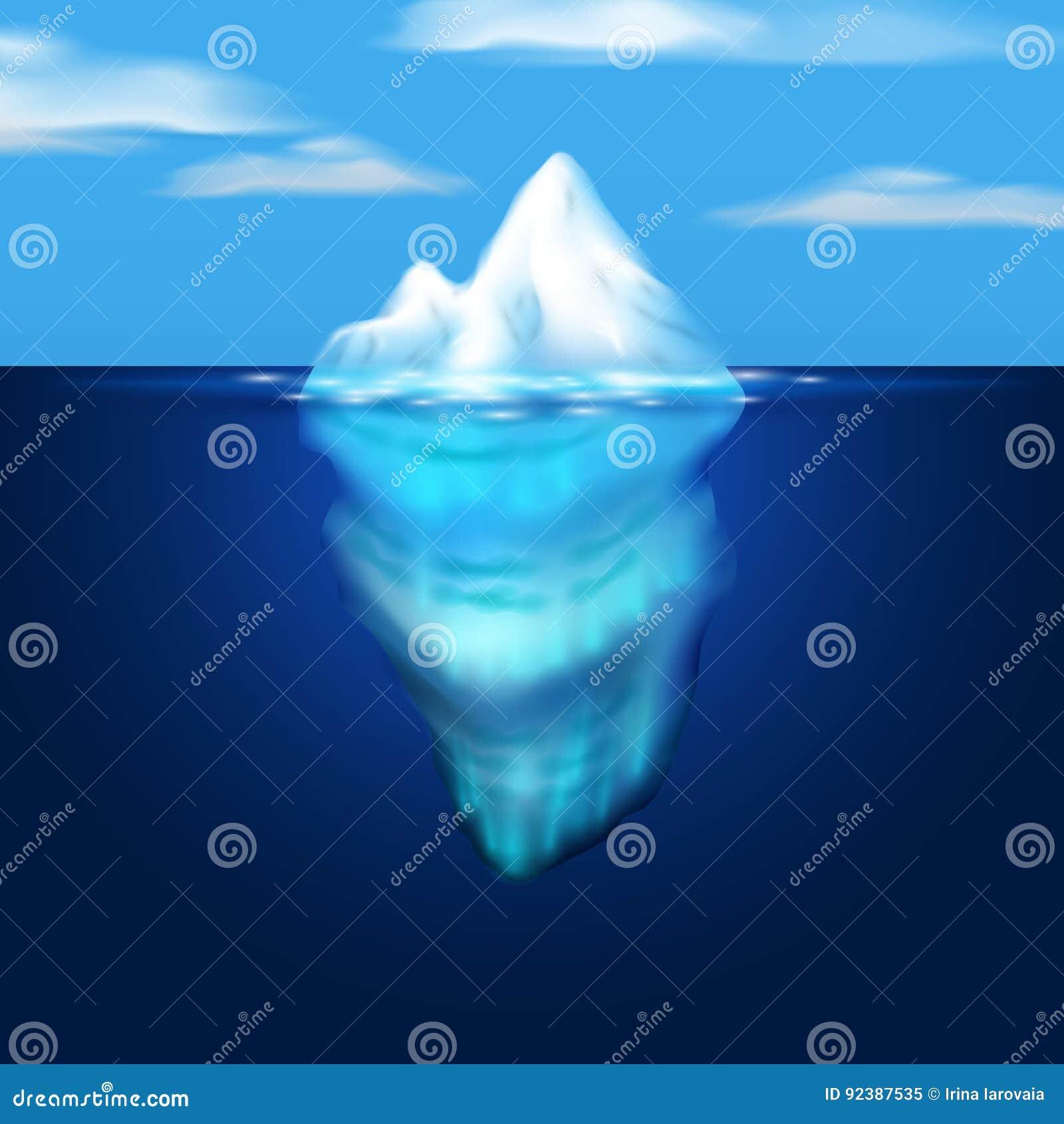 Góry lodowa ilustracja Blok lód w morzu niebieski obraz nieba tęczową chmura wektora