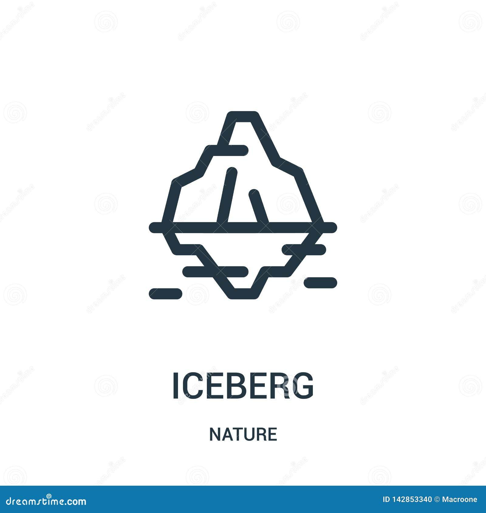 Góry lodowej ikony wektor od natury kolekcji Cienka kreskowa góra lodowa konturu ikony wektoru ilustracja Liniowy symbol dla używ
