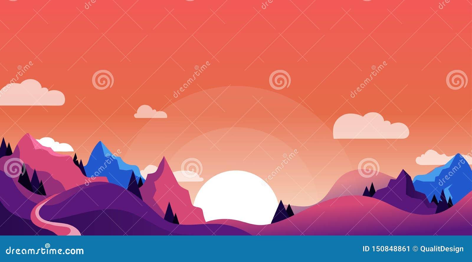 Góry, wzgórza kształtują teren, horyzontalny natury tło Wektorowa kreskówki ilustracja piękny różowy purpurowy zmierzch