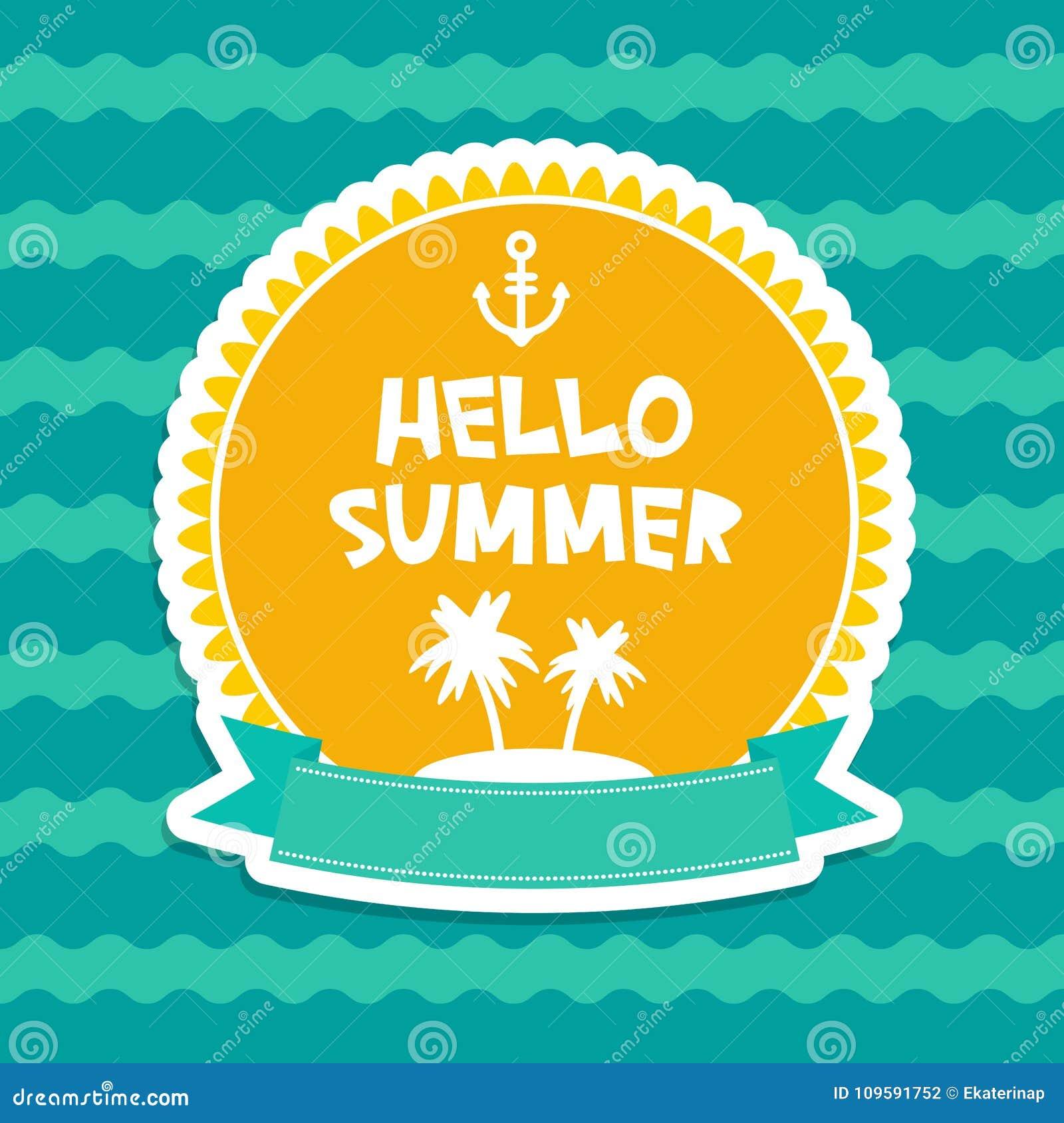 Gömma i handflatan designen för kortet för pastellfärgade färger för Hello sommar, banermallband ön på blå bakgrund för våghavsha