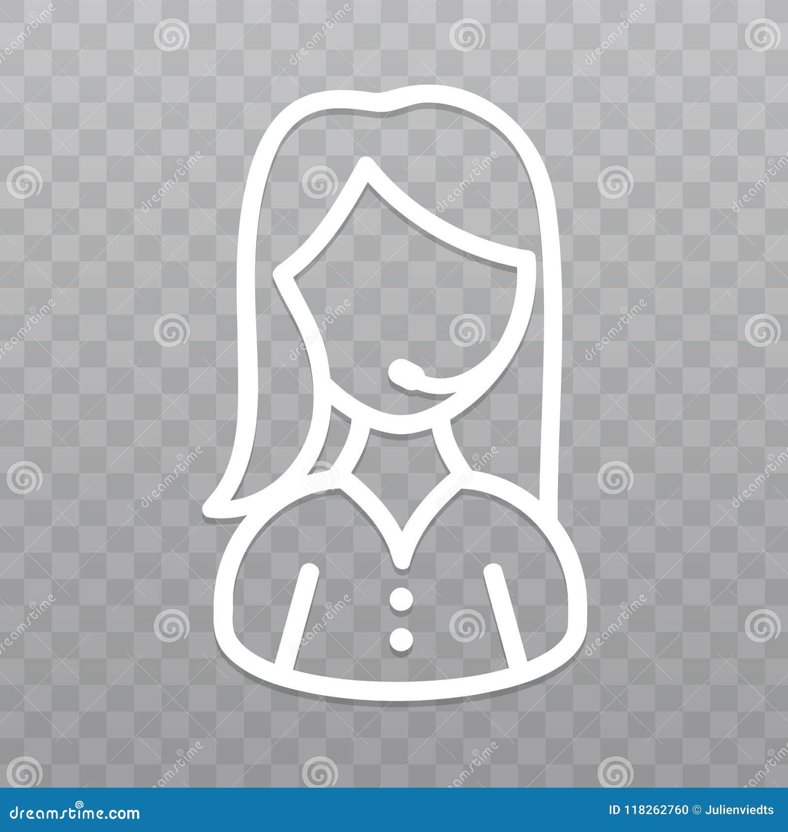 Gör linjen symbol för appellmittoperatör tunnare Servicehelplinekvinna på genomskinlig bakgrund