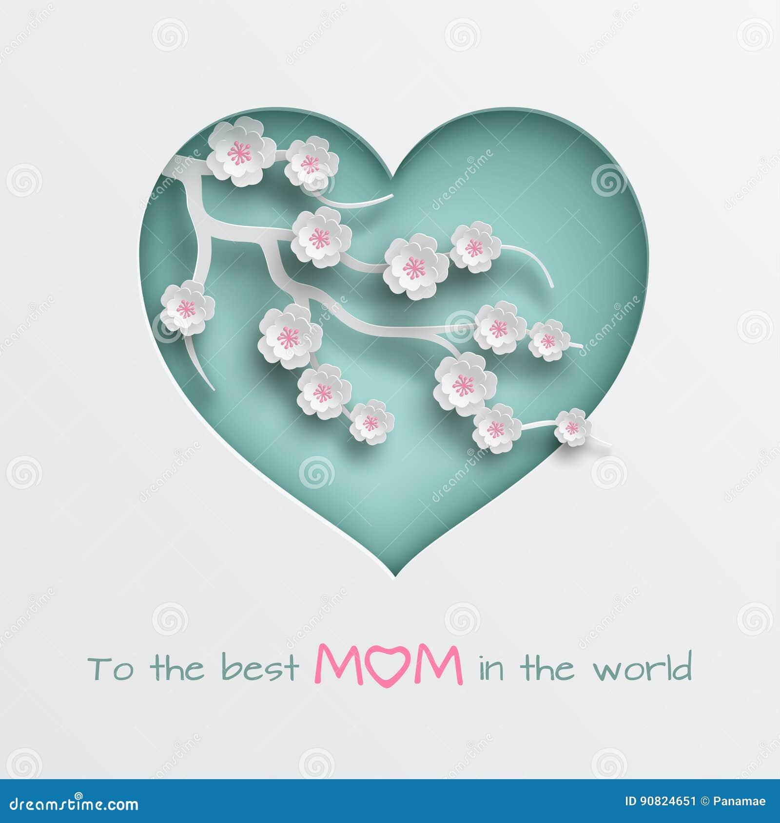 Göra grön den cuted hjärta dekorerade filialen av körsbärsröda blommor på vit bakgrund för kort för hälsning för dag för moder` s