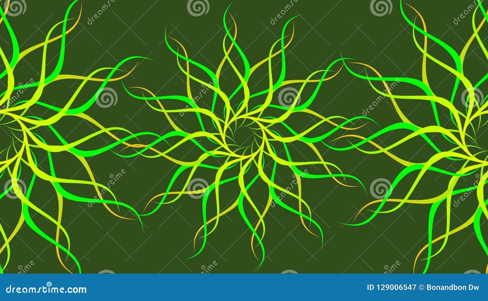Göra grön & gulna den roterande mönstrade färgrika spiralen, abstrakt begreppvågbakgrund