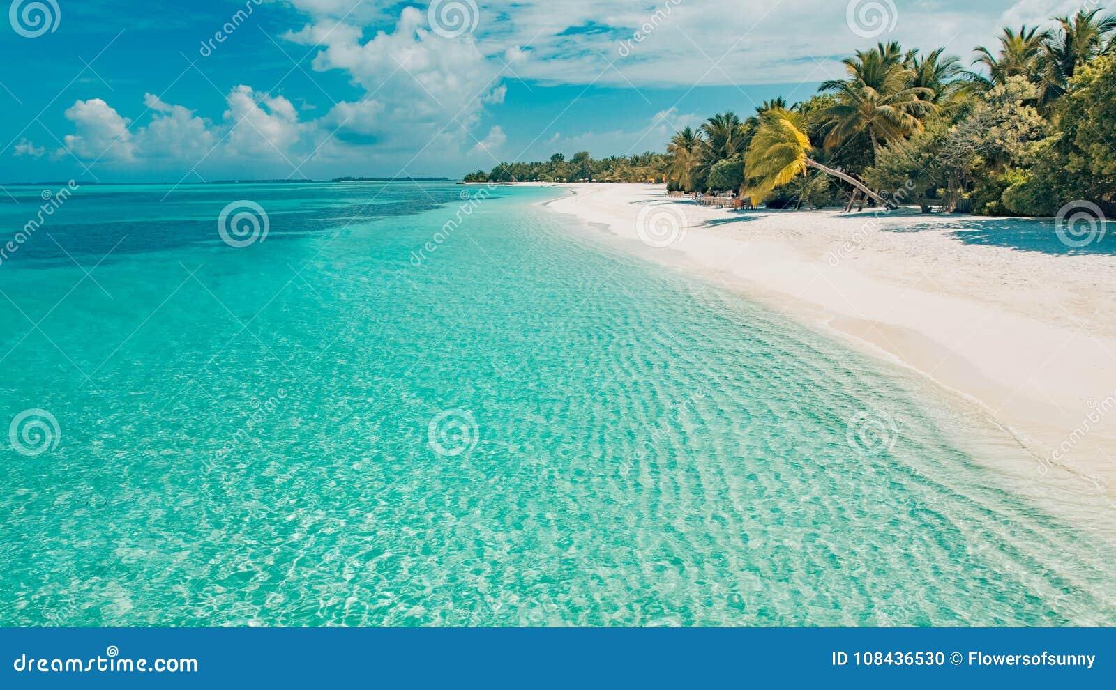 Göra perfekt den stillsamma strandplatsen, mjuk solljus- och vitsand och det blåa ändlösa havet som tropiskt landskap