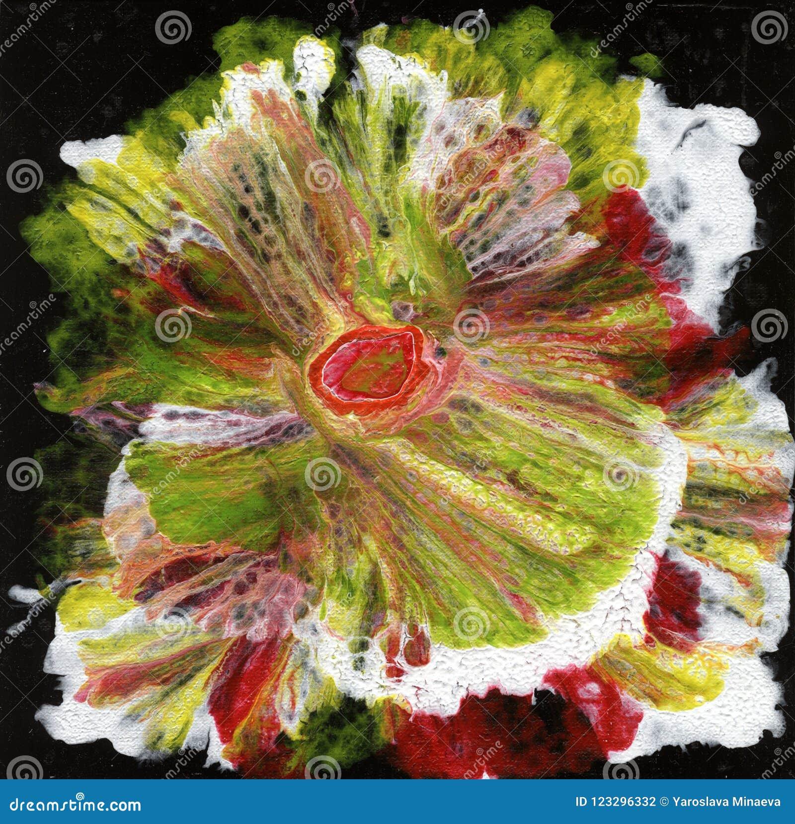 Göra sammandrag konst abstrakt blomma Blomma på en svart bakgrund