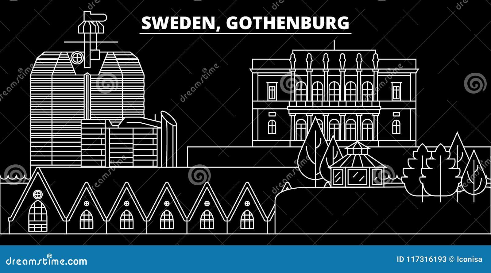 Redigerbar Karta Sverige.Goteborg Konturhorisont Sverige Goteborg Vektorstad Svensk Linjar