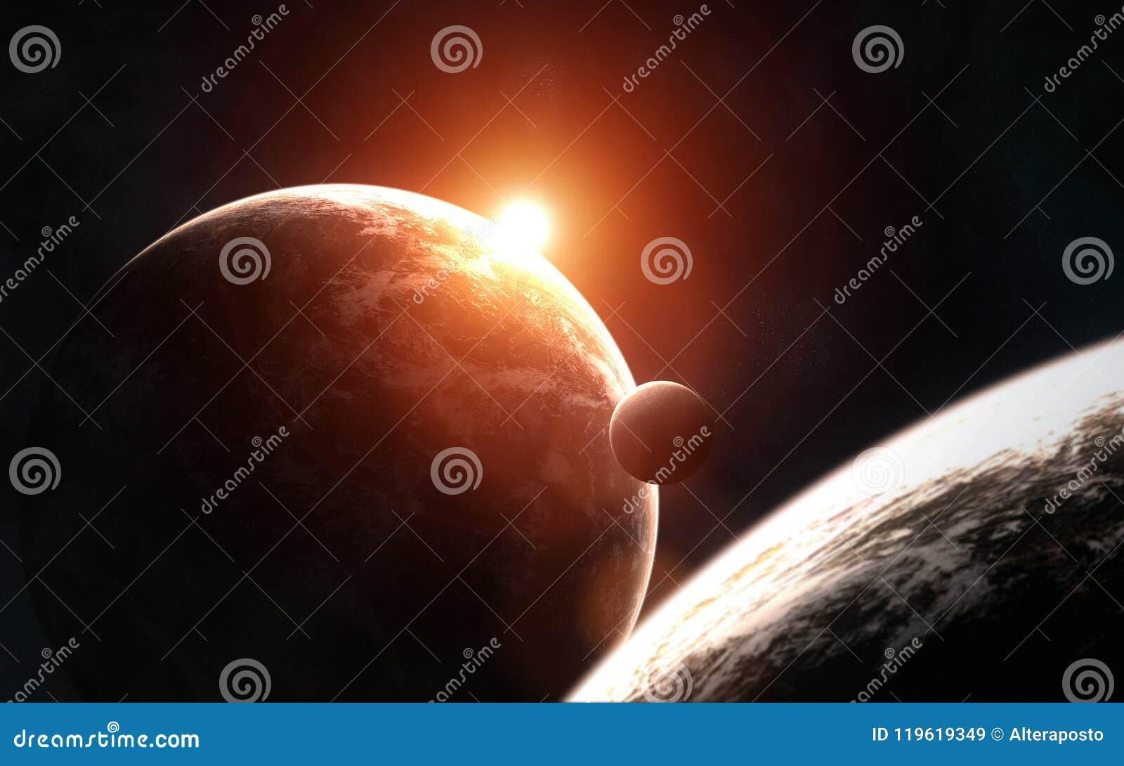 Głęboka przestrzeń planetuje w świetle powstającej czerwieni gwiazdy Elementy wizerunek meblują NASA