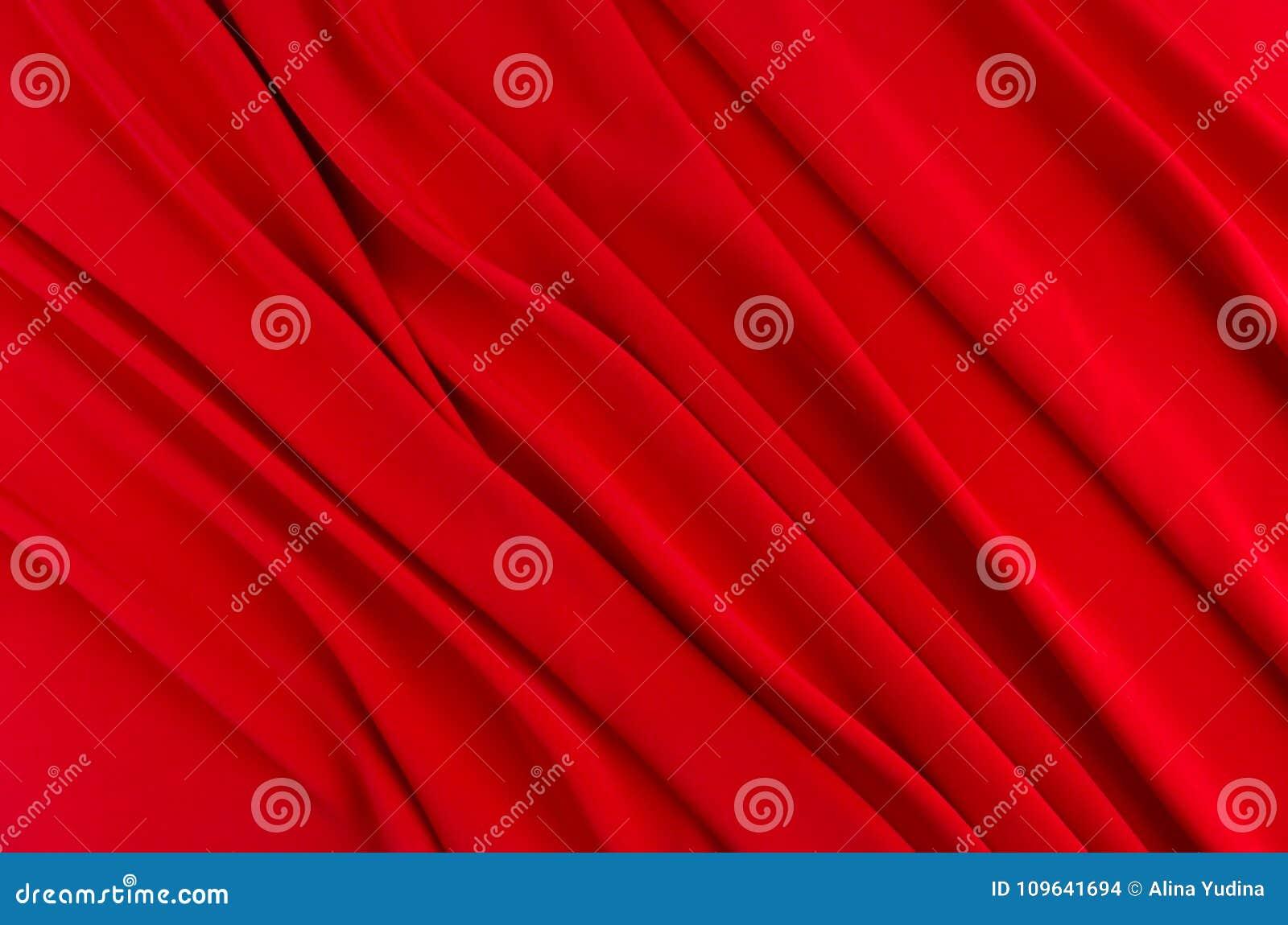 Głęboki - czerwonego jedwabiu gładki tło z kopii przestrzenią Abstrakcjonistyczny pasyjny miłości tło