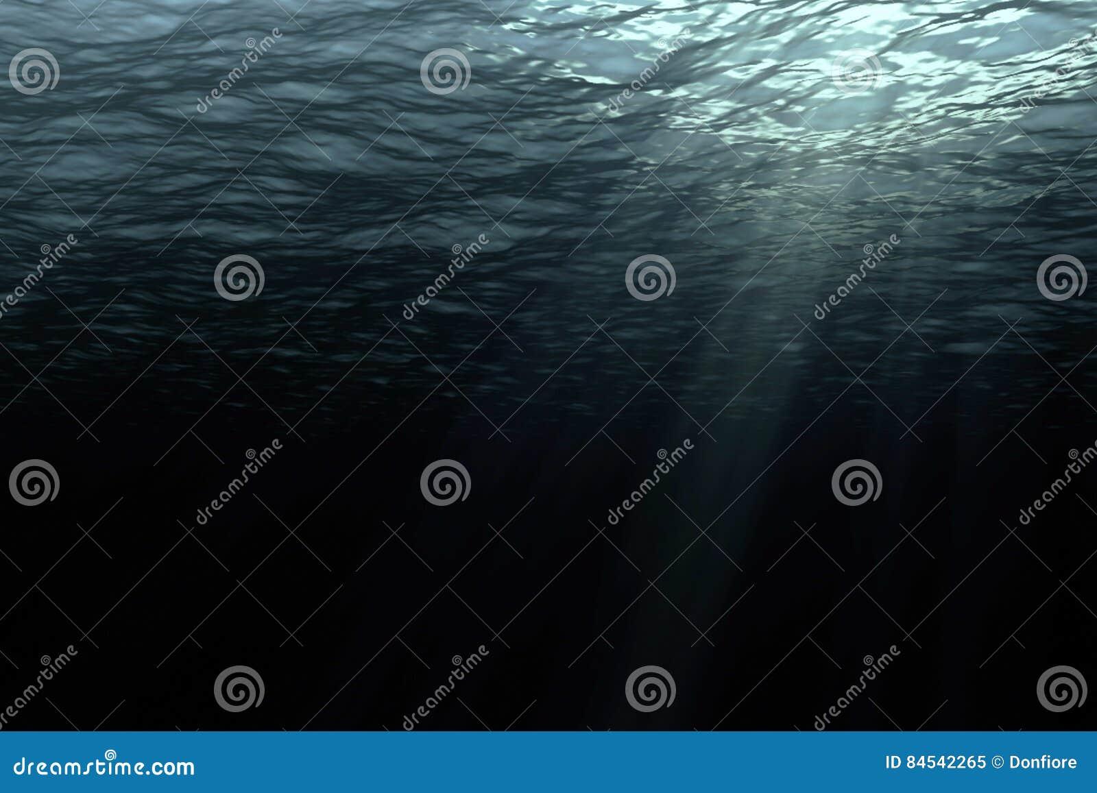 Głębokie ciemne ocean fala od podwodnego tła