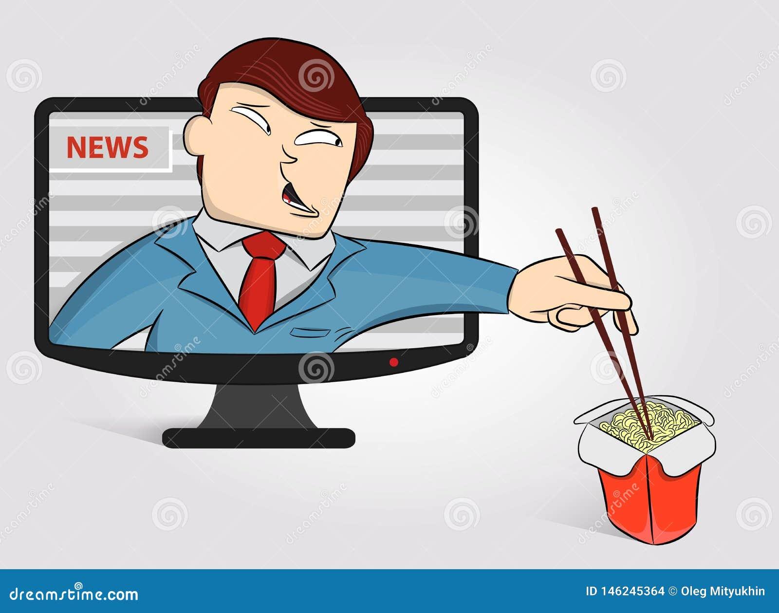 Głodny anchorperson dostać z TV jeść kluski Śmieszna wiadomości kotwica na TV wiadomości dniej tle M?ska wiadomo?ci kotwica Poj?c