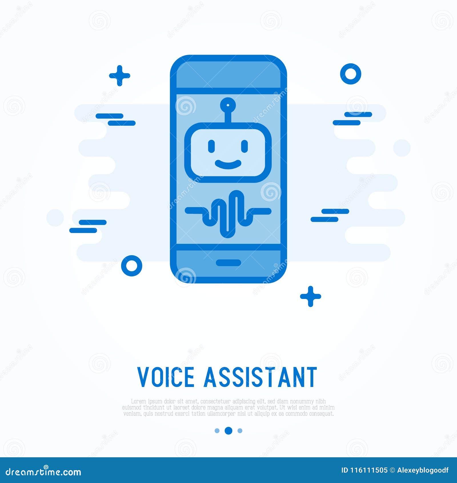 Głosu asystent na smartphone cienkiej kreskowej ikonie