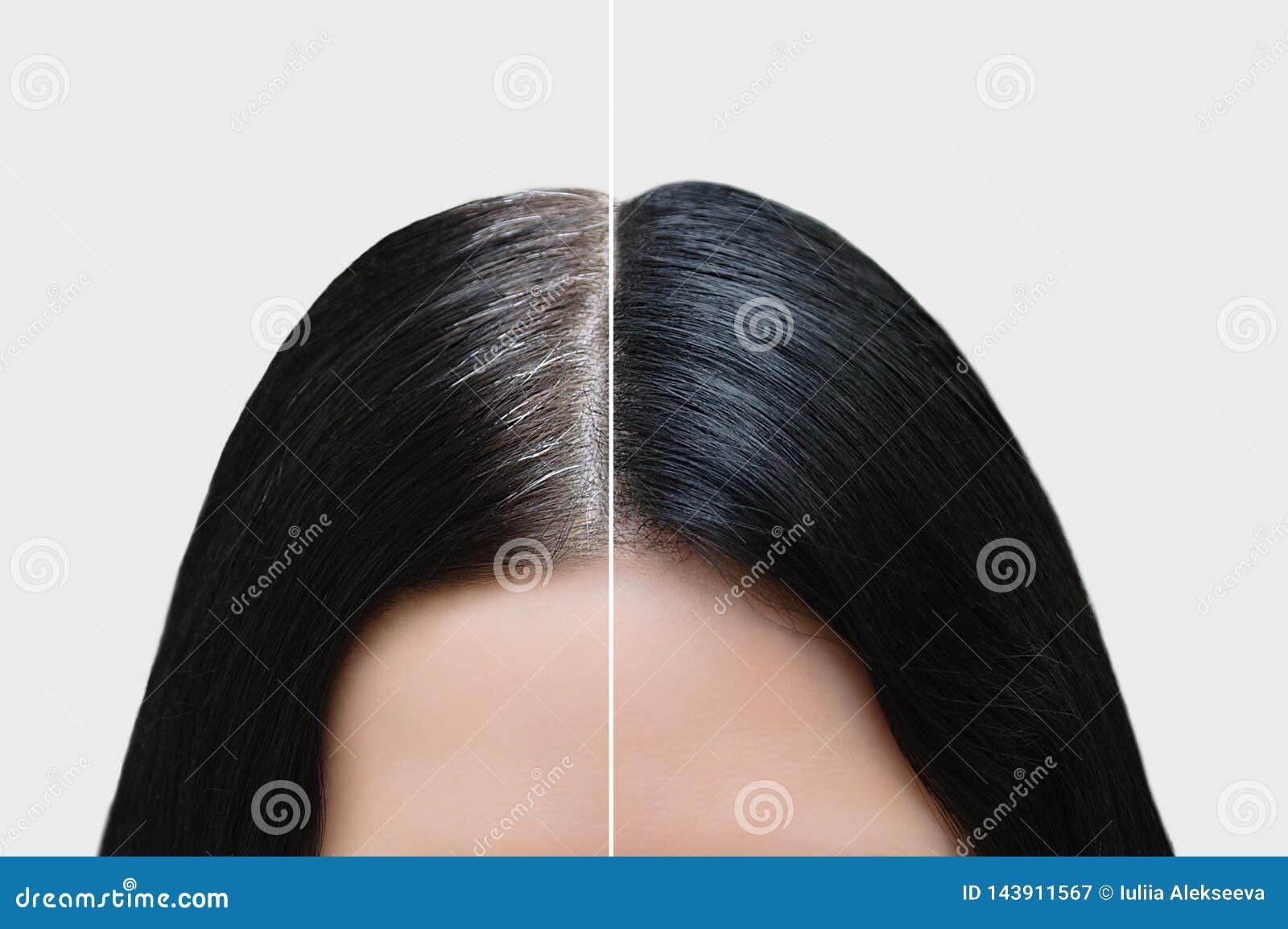 Głowa dziewczyna z czarnym szarym włosy Włosiana kolorystyka Before and after