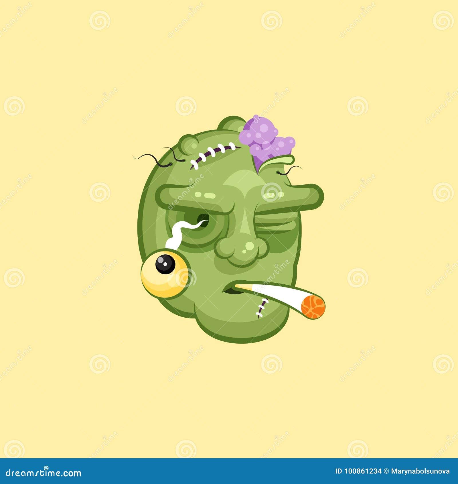 Głowa, okropny wyraz twarzy żywego trupu dymienia papierosu emocja