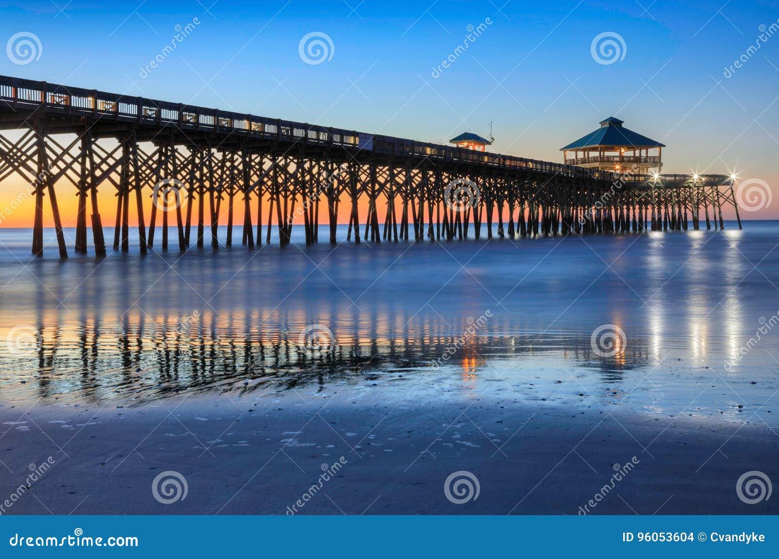 Głupota połowu Plażowy molo Południowa Karolina