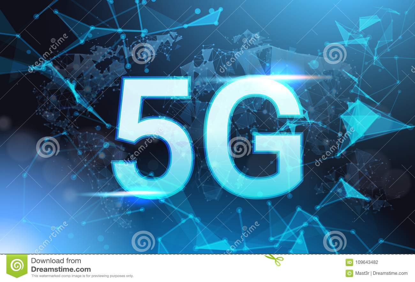 5g互联网连接速度签署在蓝色背景的未来派低多滤网Wireframe
