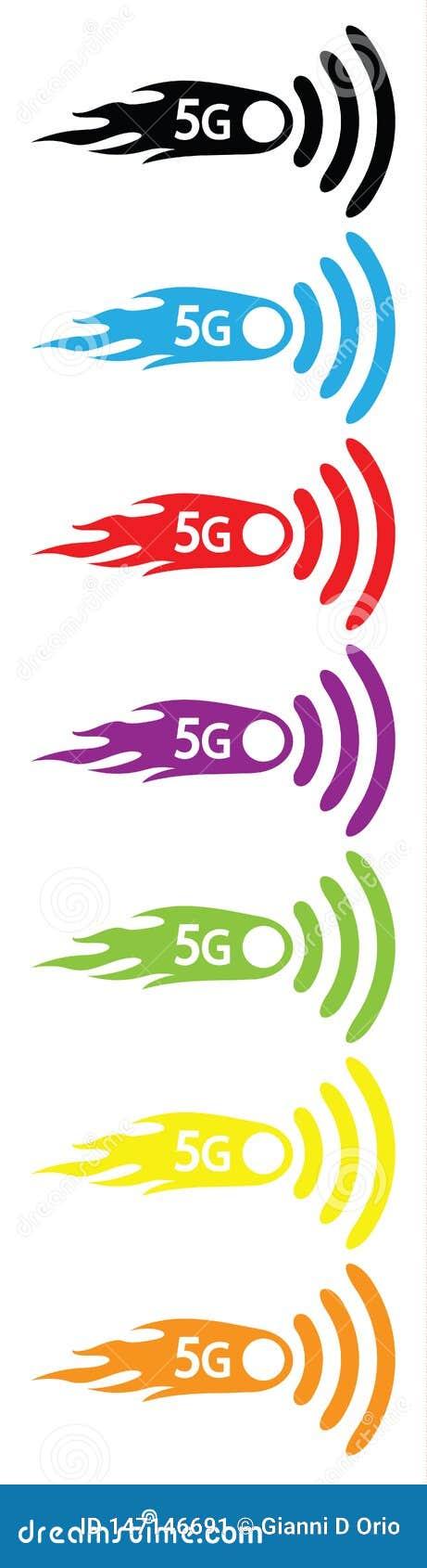 5g连接的无线商标标志与火焰的