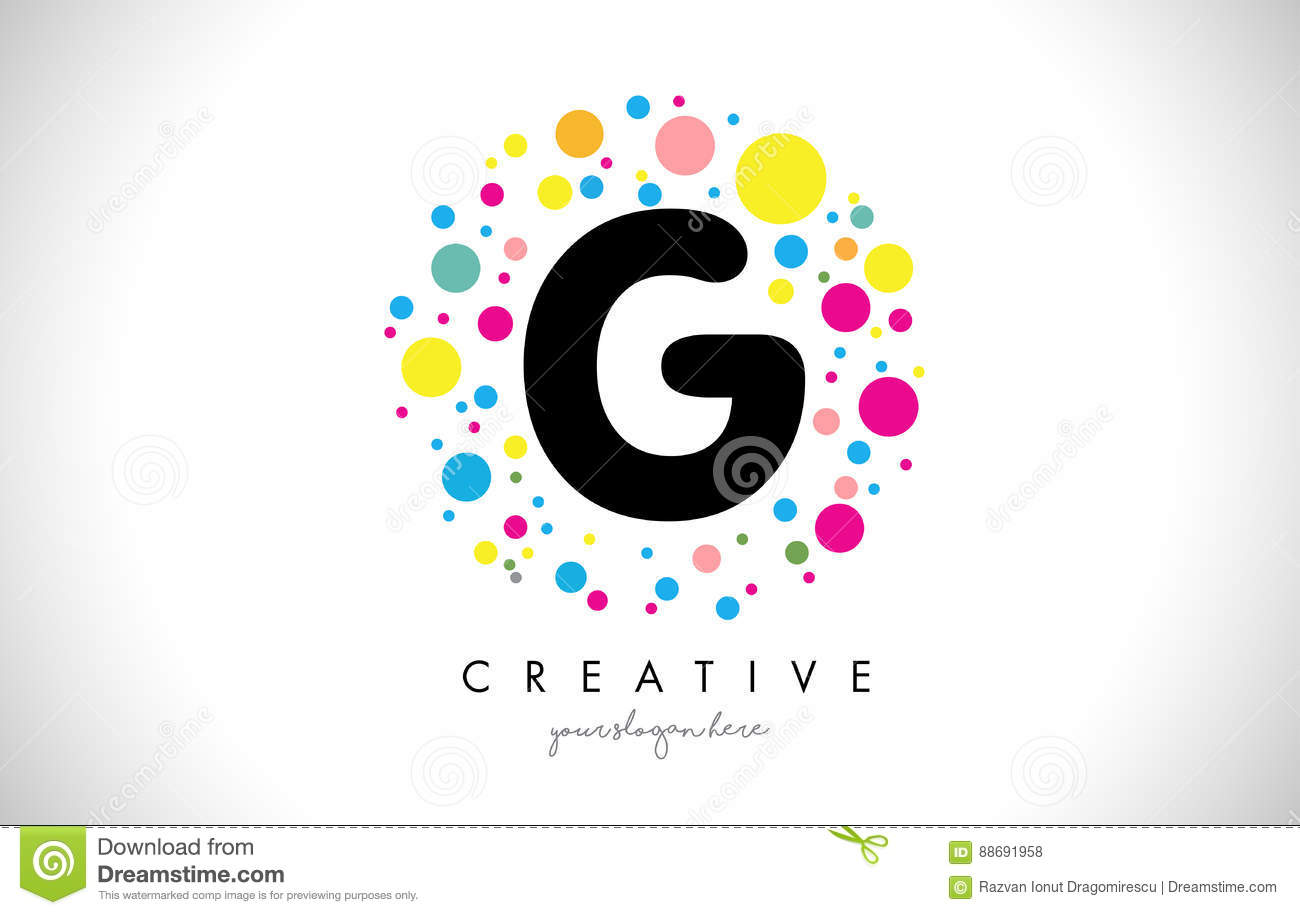 Download G Bubble Dots Letter Logo Design With Creative Colorful Bubbles Stock Vector