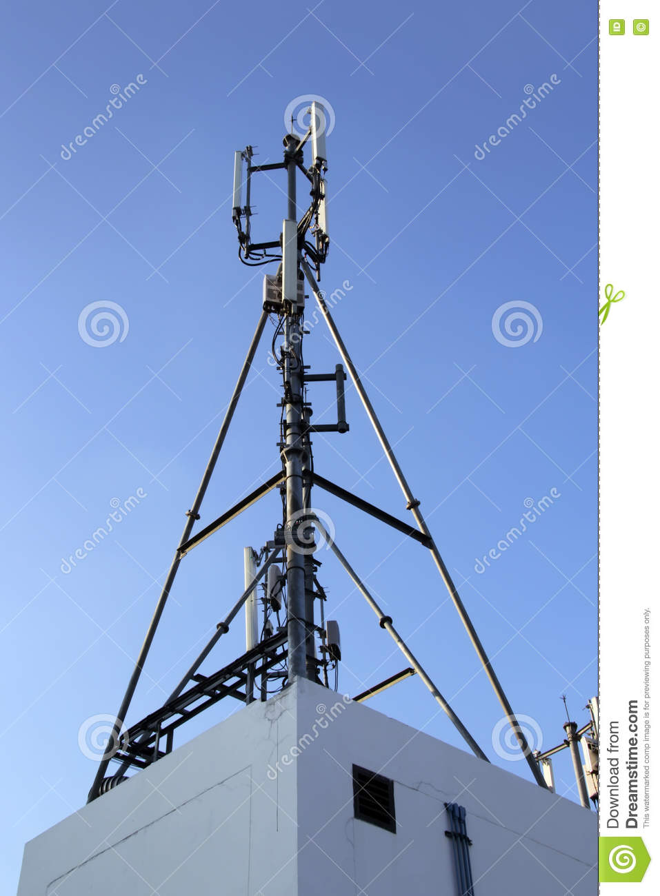 4G Cell Site, Radio Tower Or Mobile Phone Base Station Stock