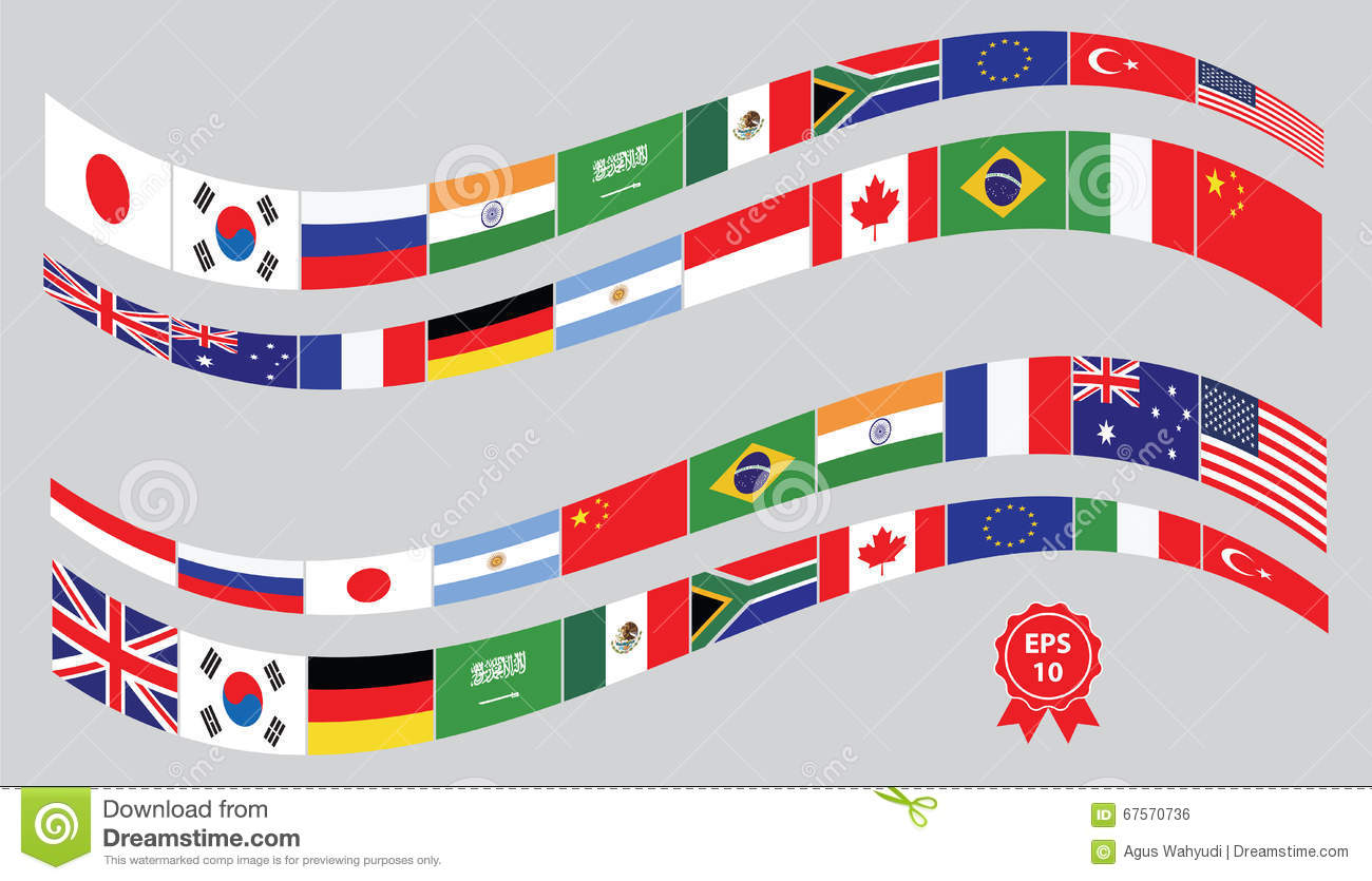G20 Countries Flags Or Flags Of The World Element Design Stock