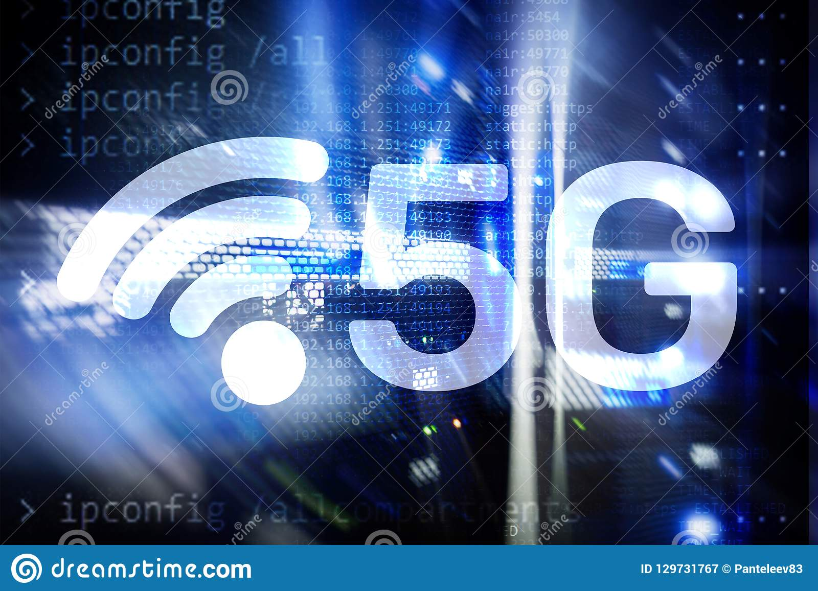 5G Fast Wireless internet connection Communication Mobile Technology concept