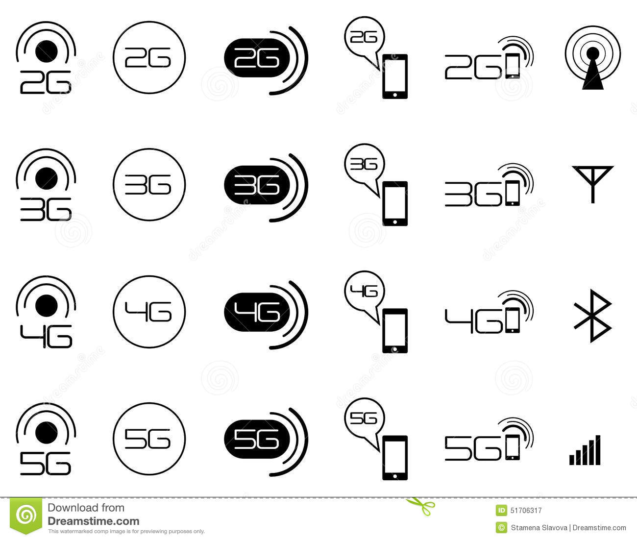 2G 3G 4G Mobile Network Icons Stock Vector - Illustration of