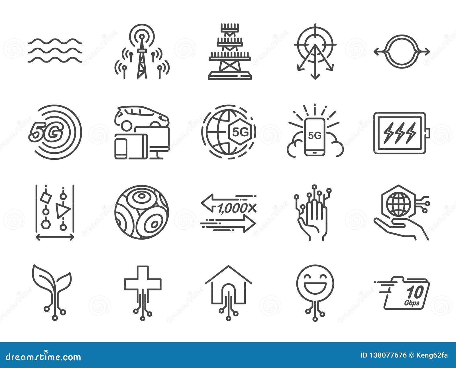 5G interneta linii ikony set Zawierać ikony jako IOT, internet rzeczy, bandwidth, sygnał, przyrząda i bardziej