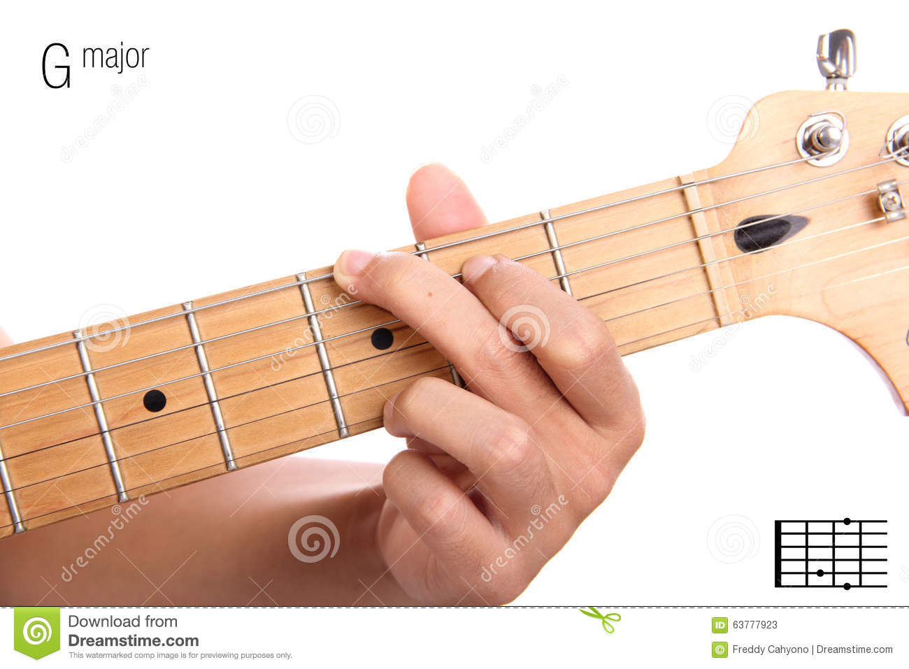 G Major Guitar Chord Tutorial Stock Image Image Of Electric Basic