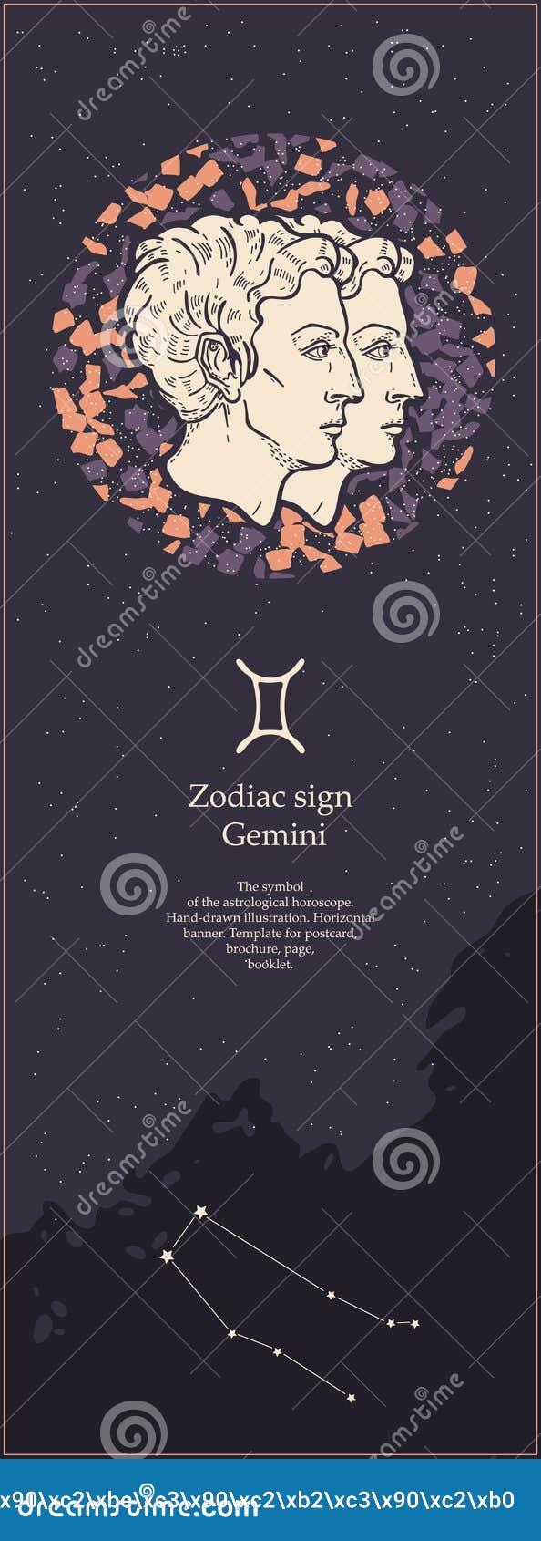 G?meos do sinal do zod?aco O símbolo do horóscopo astrológico Face das mulheres Hand-drawn de illustration Bandeira vertical Mold