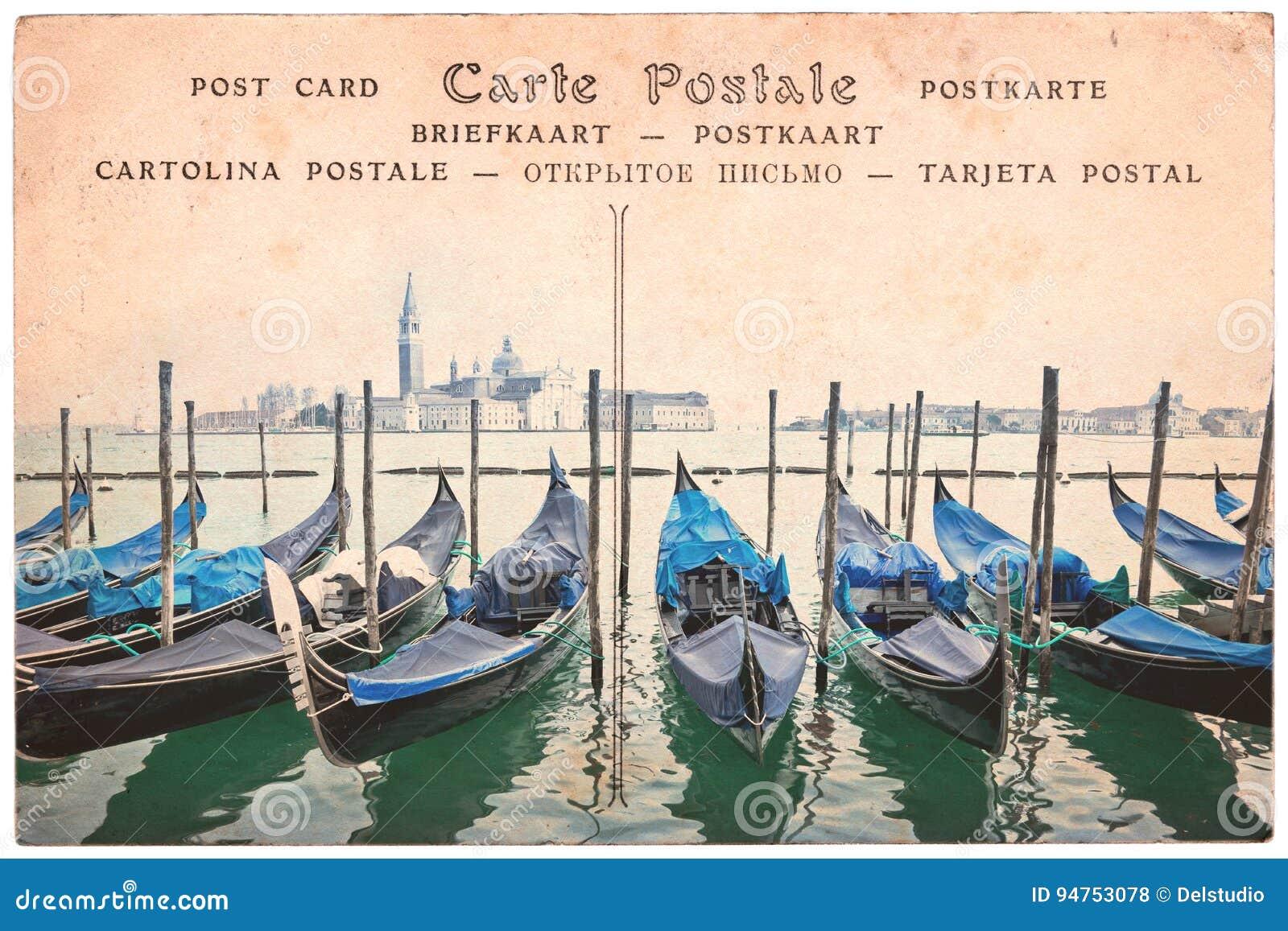 Gôndola de Veneza, Itália, colagem no fundo do cartão do sepia do vintage, cartão da palavra em diversas línguas
